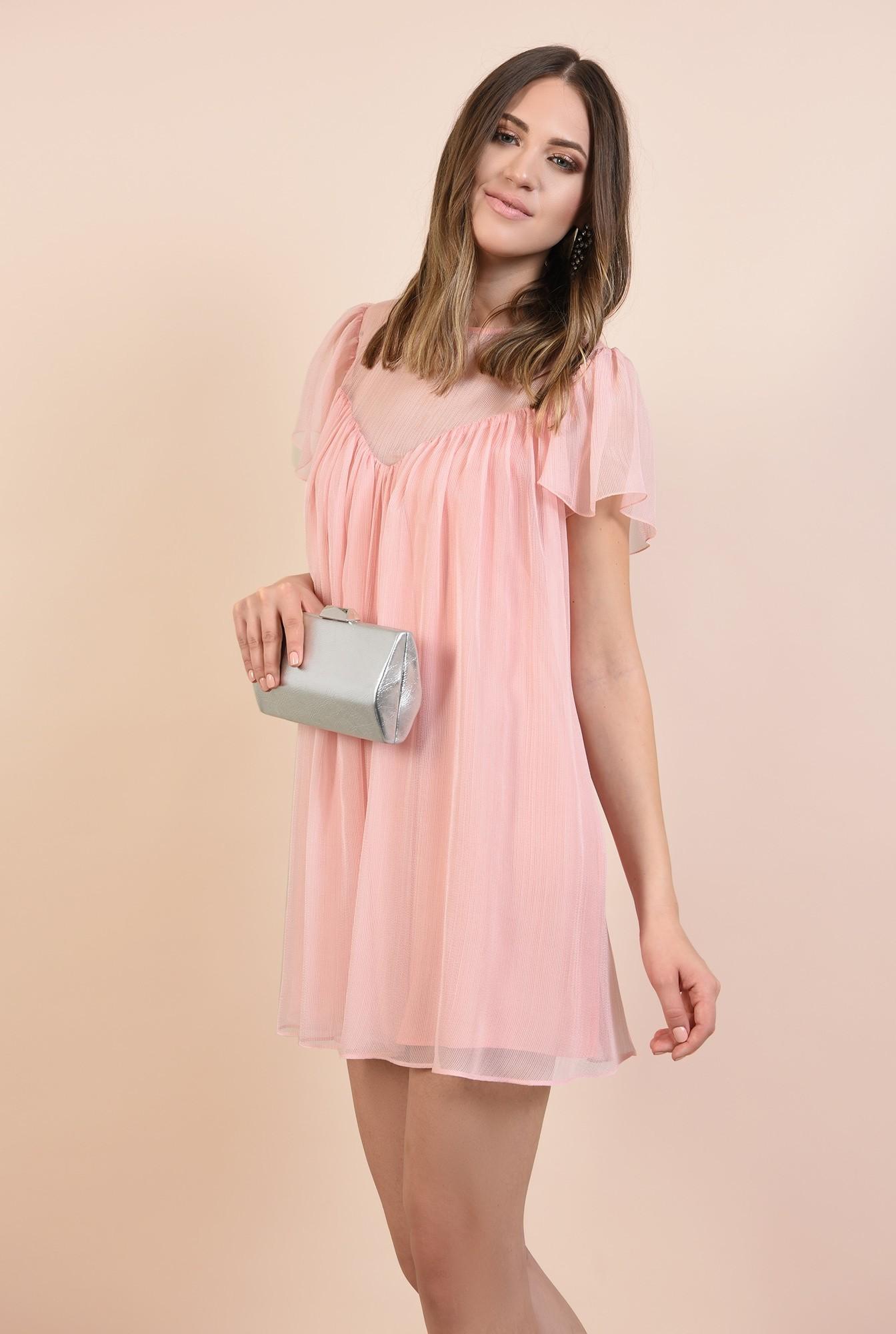 0 - 360 - rochie eleganta, din voal creponat, roz, mini, babydoll
