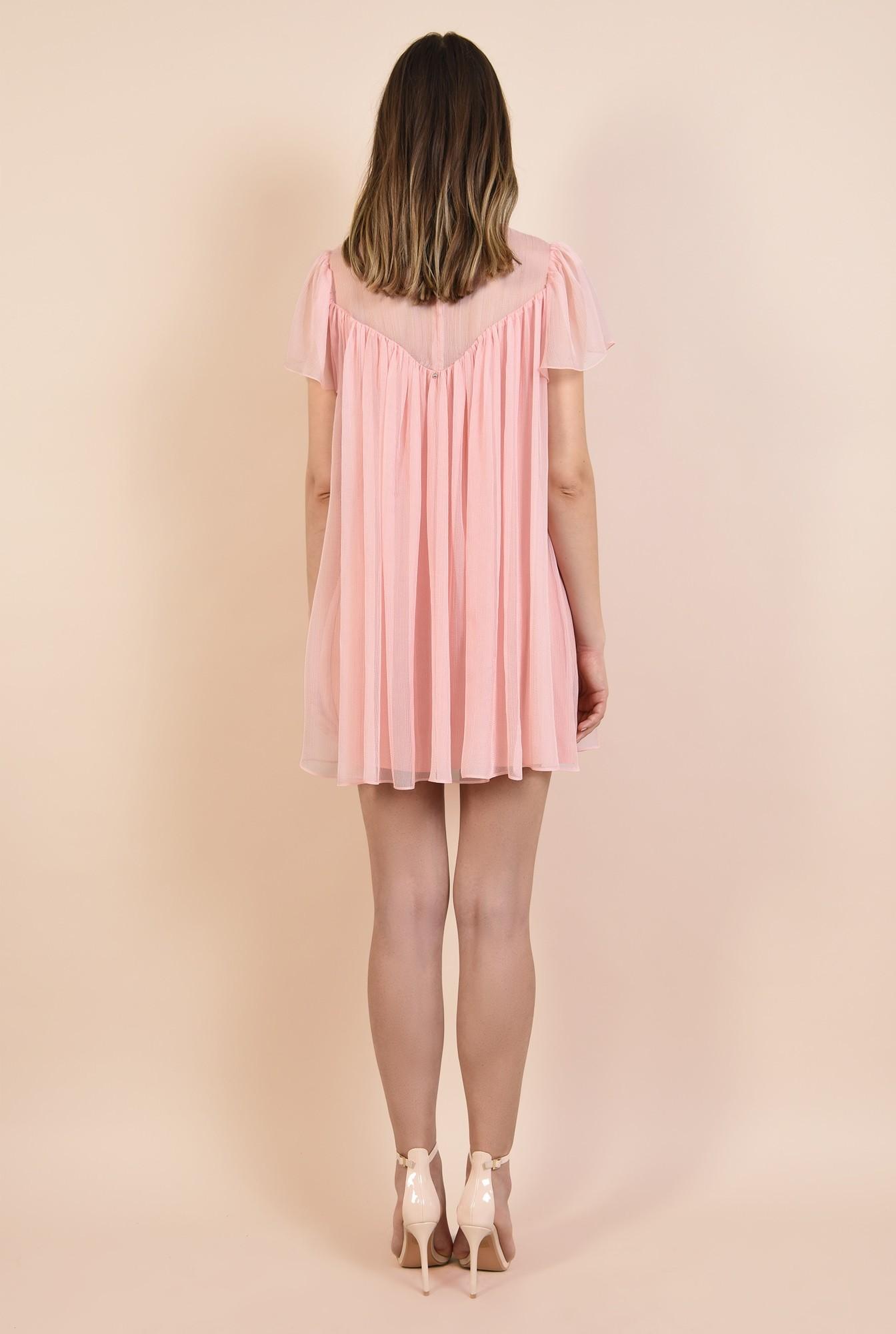 1 - 360 - rochie eleganta, din voal creponat, roz, mini, babydoll