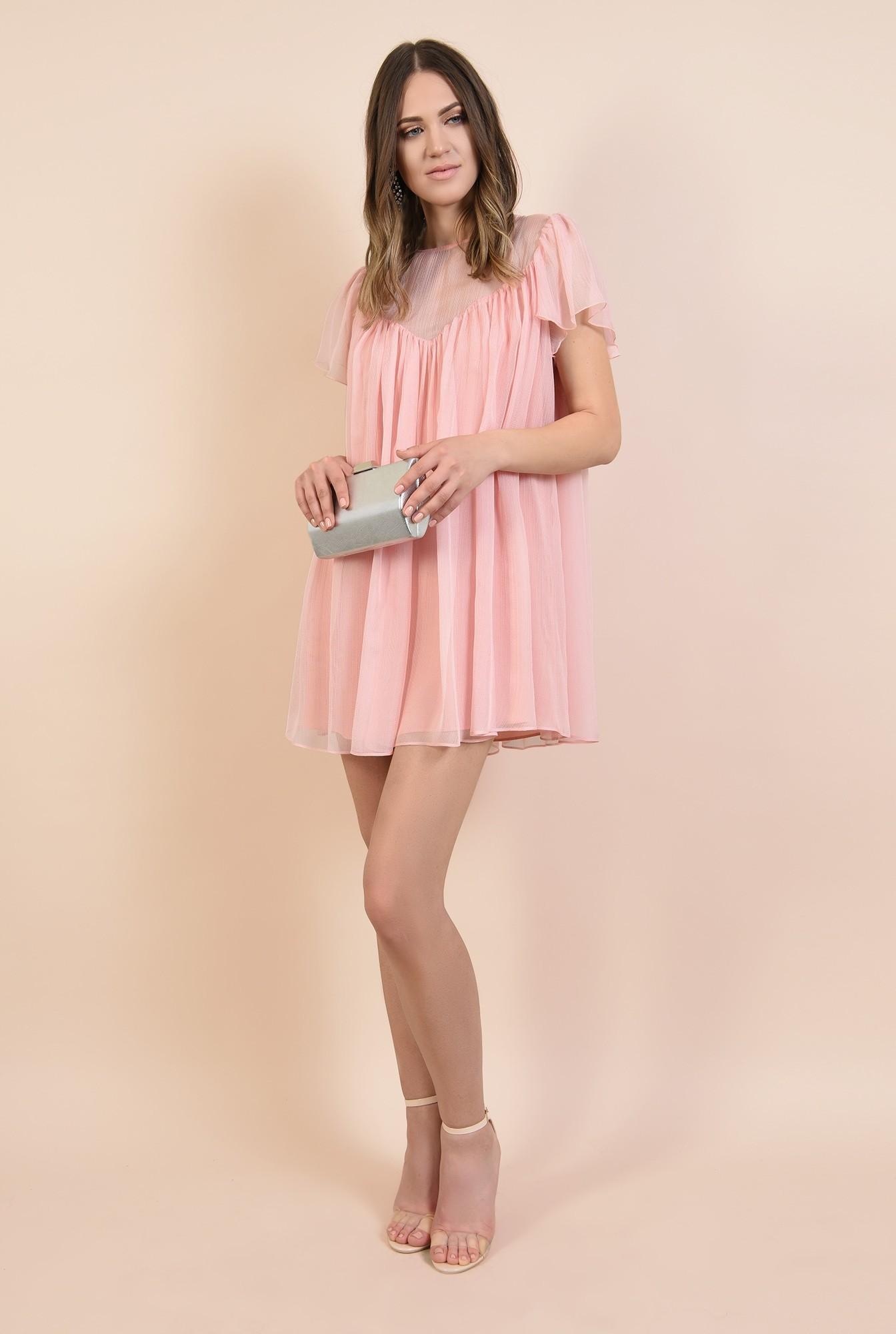 3 - 360 - rochie eleganta, din voal creponat, roz, mini, babydoll