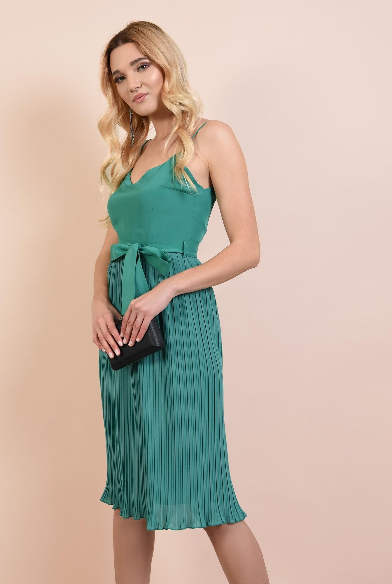0 - rochie eleganta, midi, din voal plise, cu cordon, verde turcoaz