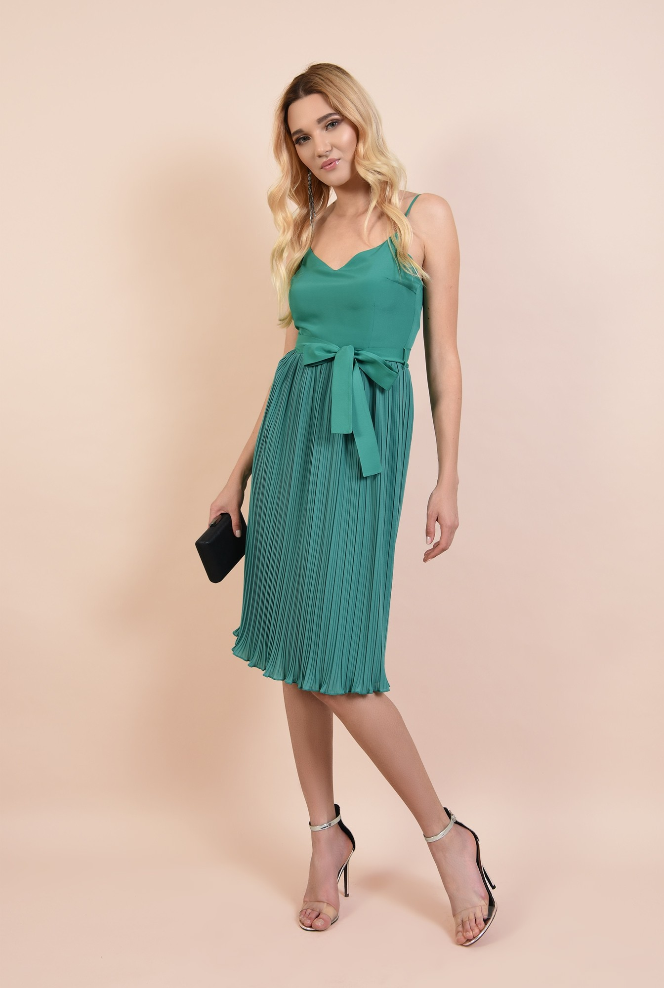 3 - rochie eleganta, midi, din voal plise, cu cordon, verde turcoaz