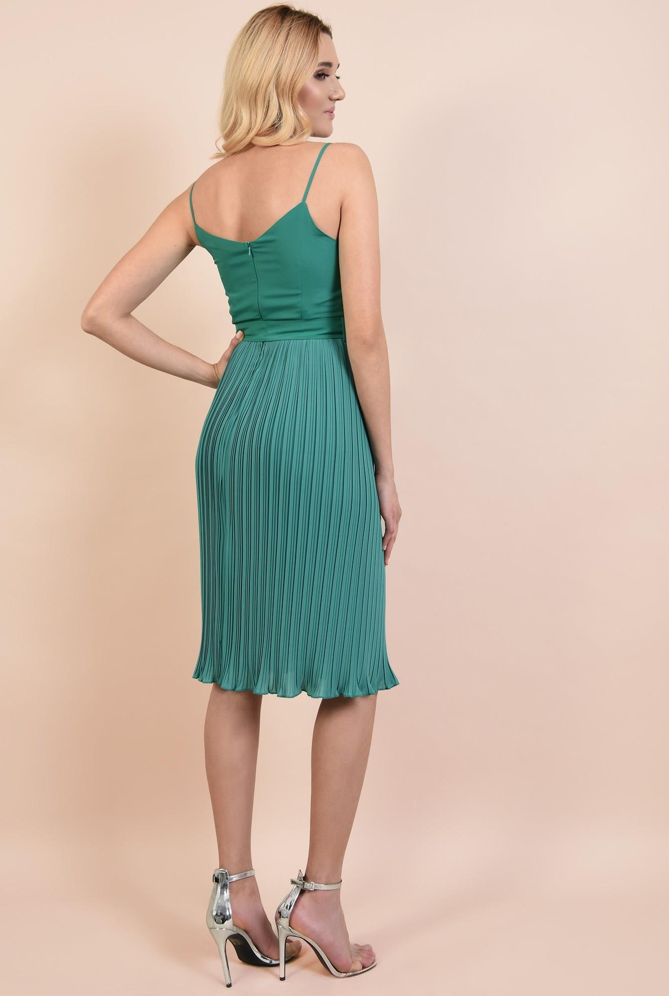 1 - rochie eleganta, midi, din voal plise, cu cordon, verde turcoaz
