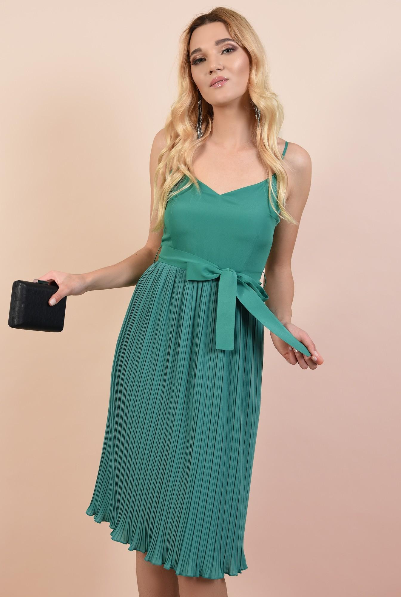 2 - rochie eleganta, midi, din voal plise, cu cordon, verde turcoaz