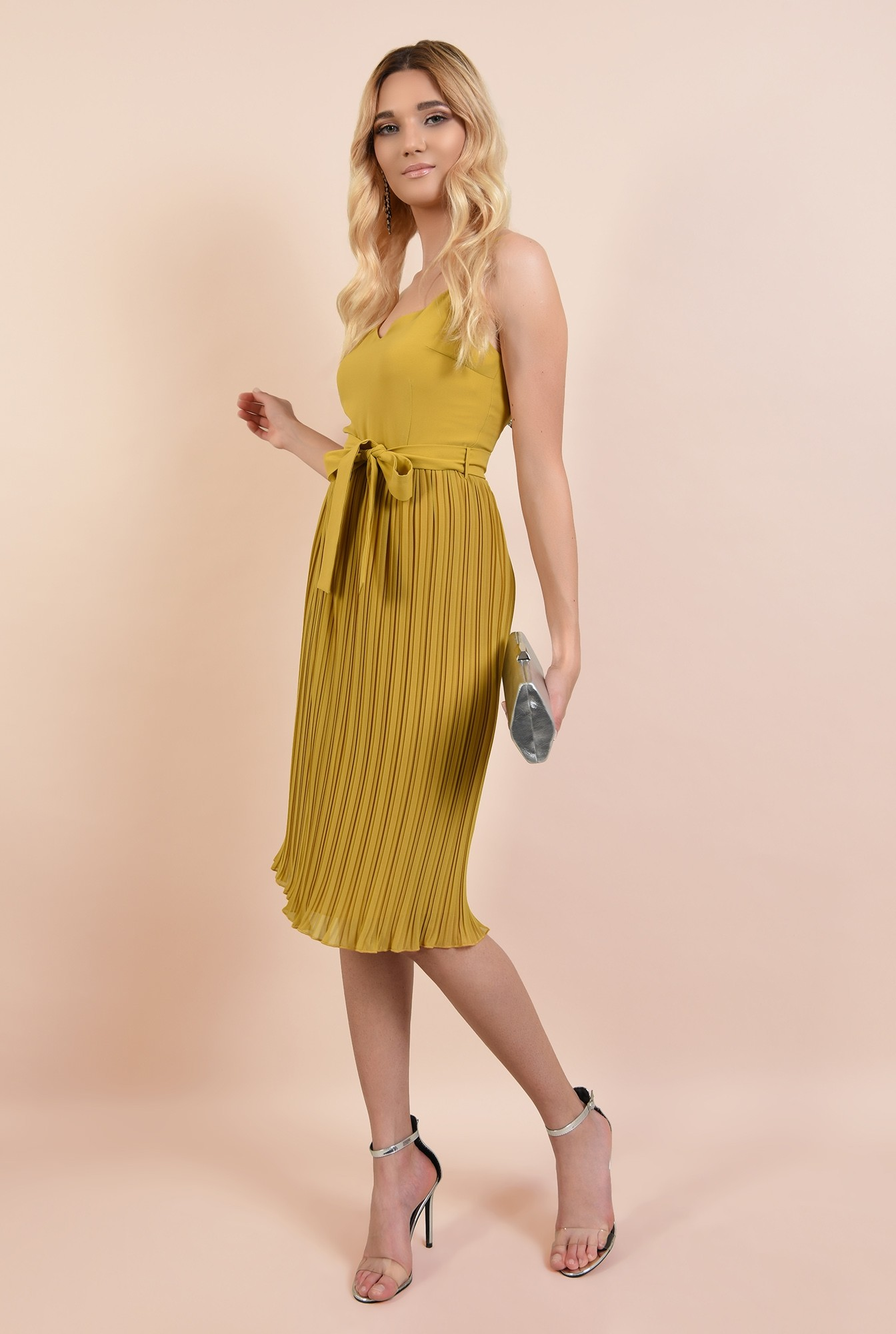3 - 360 - rochie eleganta, mustar, cu bretele spaghetti, cordon in talie, fusta plisata
