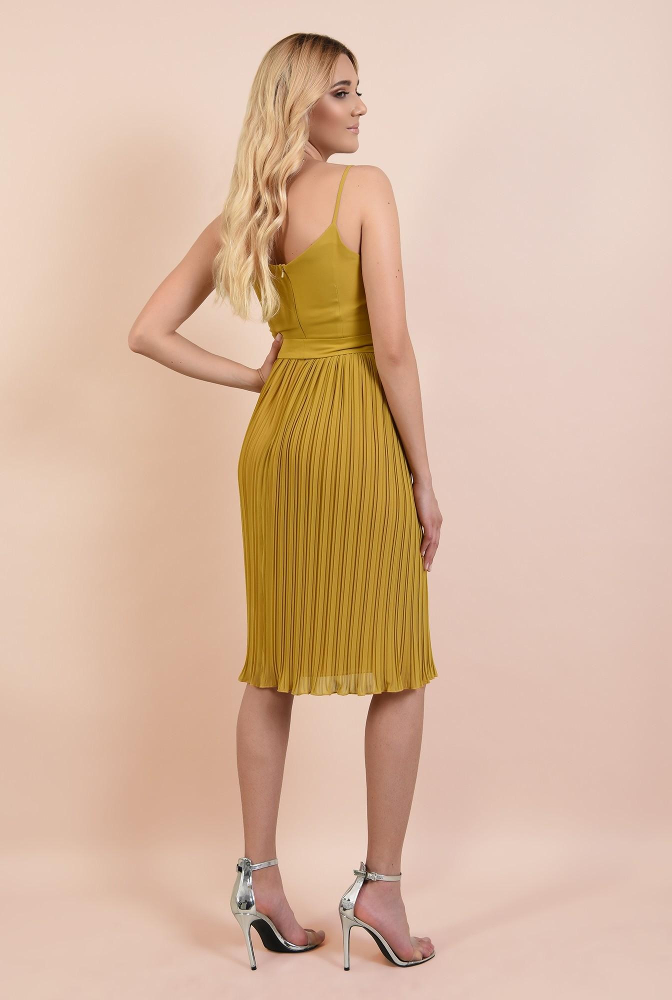 1 - 360 - rochie eleganta, mustar, cu bretele spaghetti, cordon in talie, fusta plisata