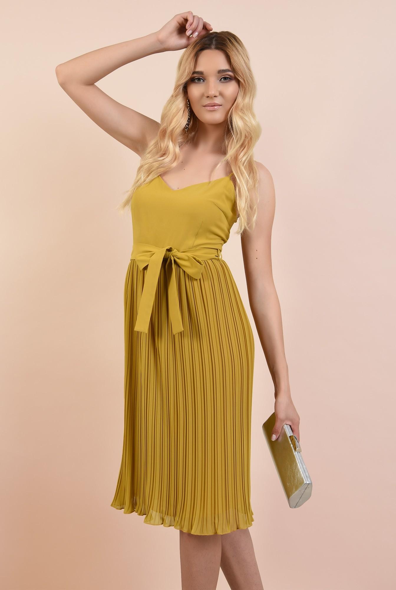 0 - 360 - rochie eleganta, mustar, cu bretele spaghetti, cordon in talie, fusta plisata