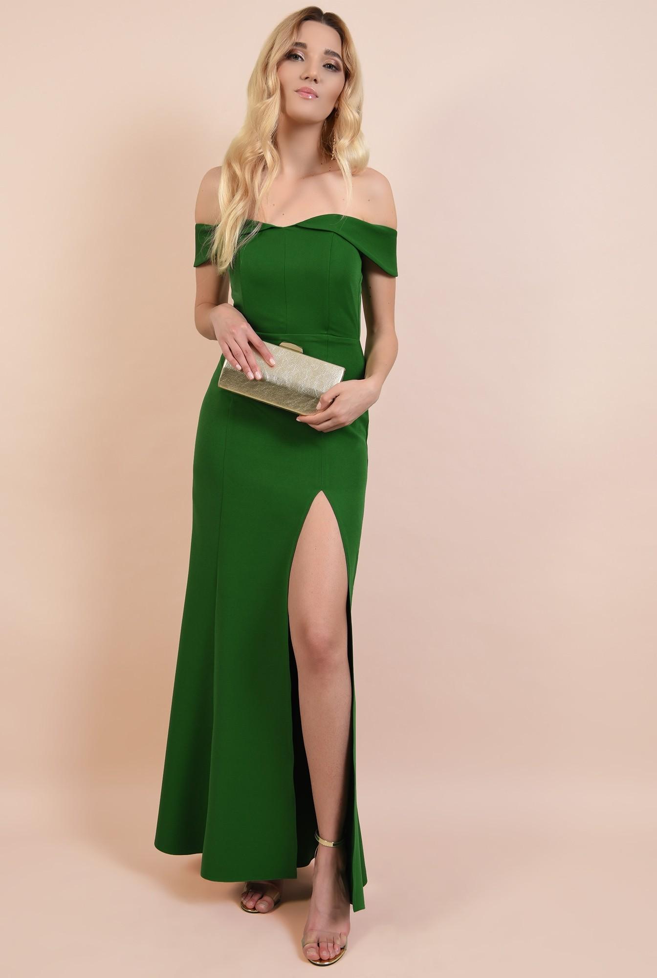 3 - rochie de seara, cu crapeu, umeri goi, decoltata, verde, rochii online
