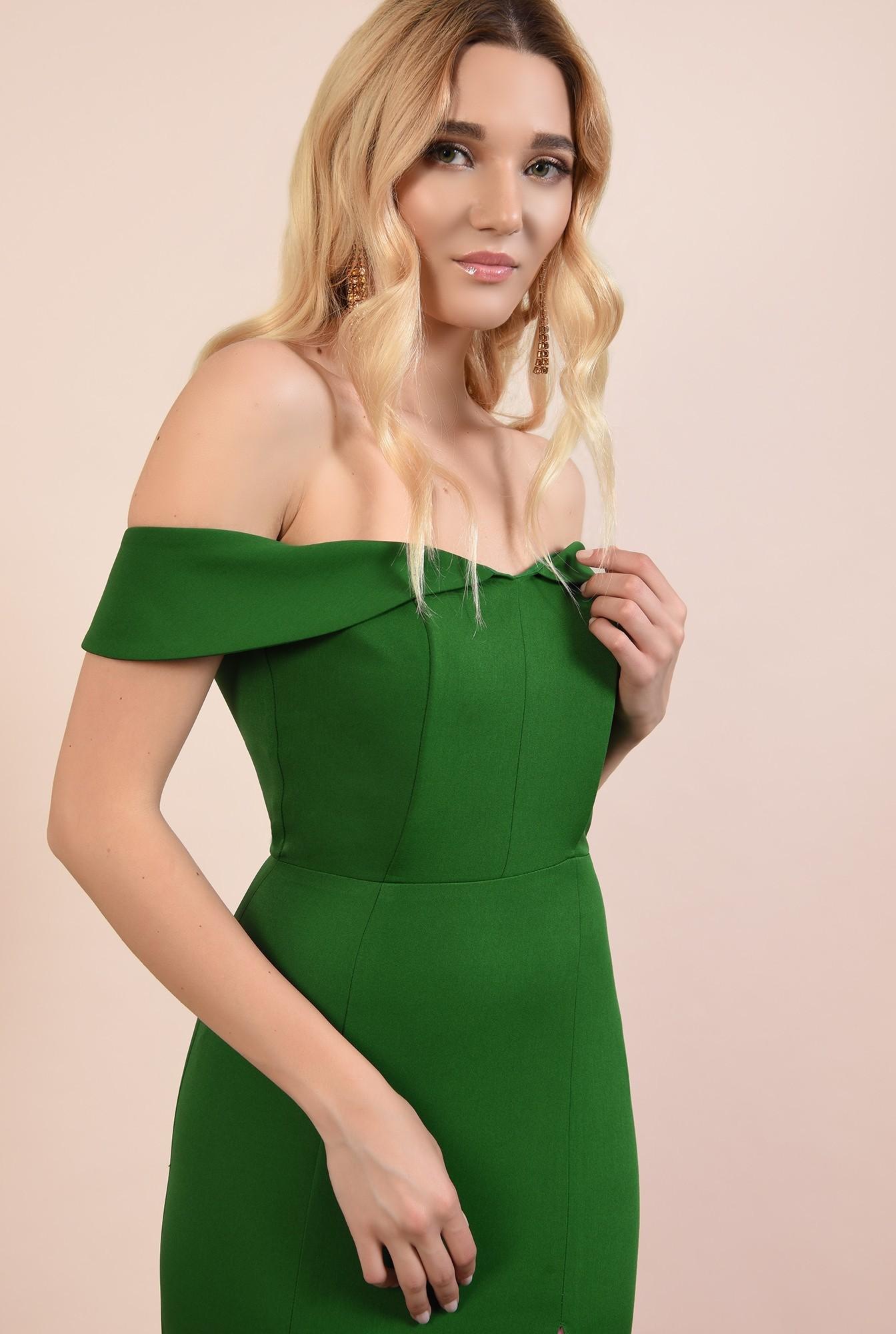 2 - rochie de seara, cu crapeu, umeri goi, decoltata, verde, rochii online