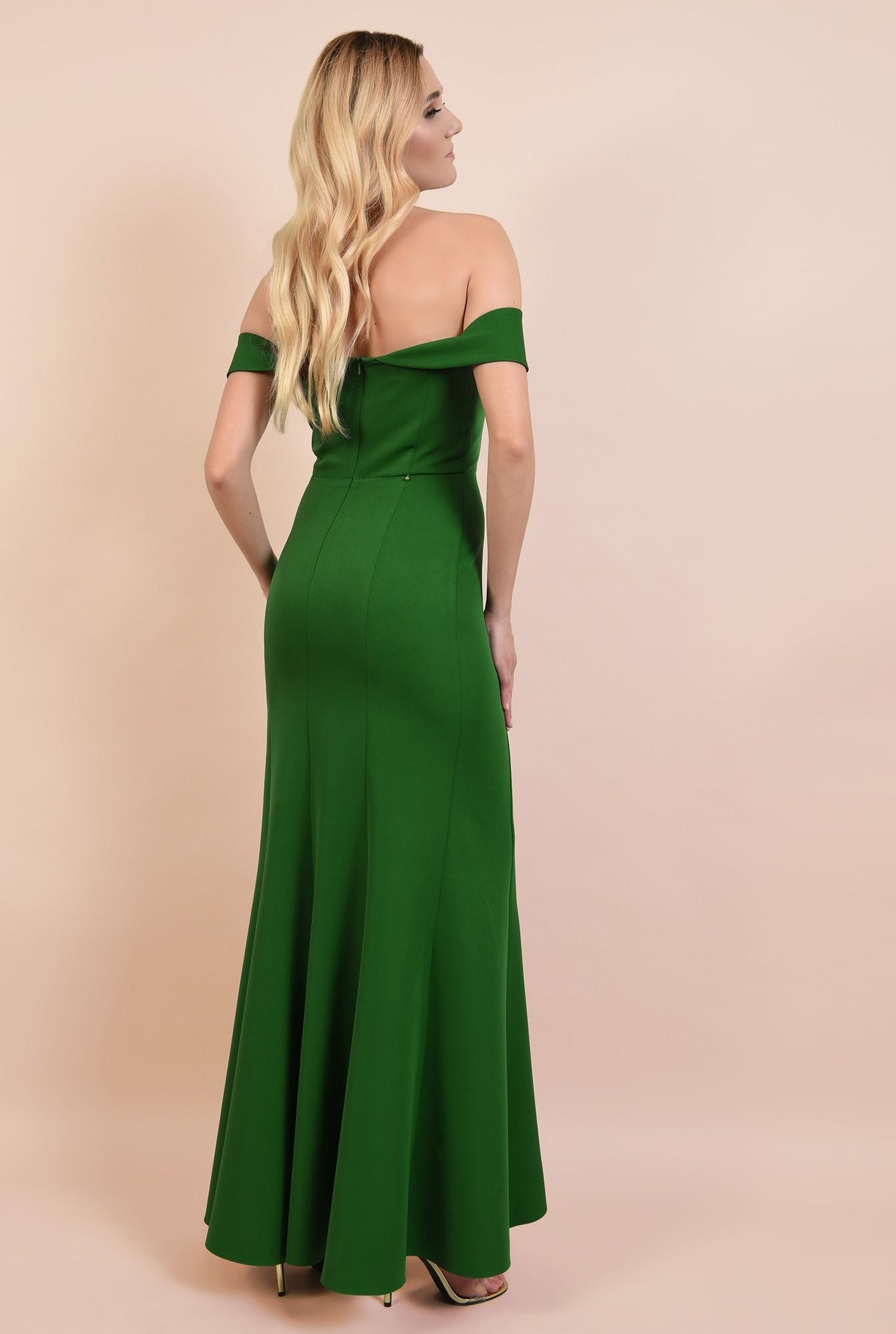1 - rochie de seara, cu crapeu, umeri goi, decoltata, verde, rochii online