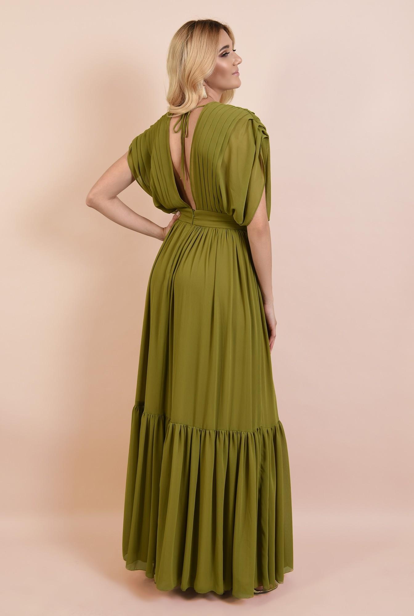 1 - rochie de ocazie, lunga, din voal, pliuri decorative, fara maneci, volan amplu, despicata pe parti