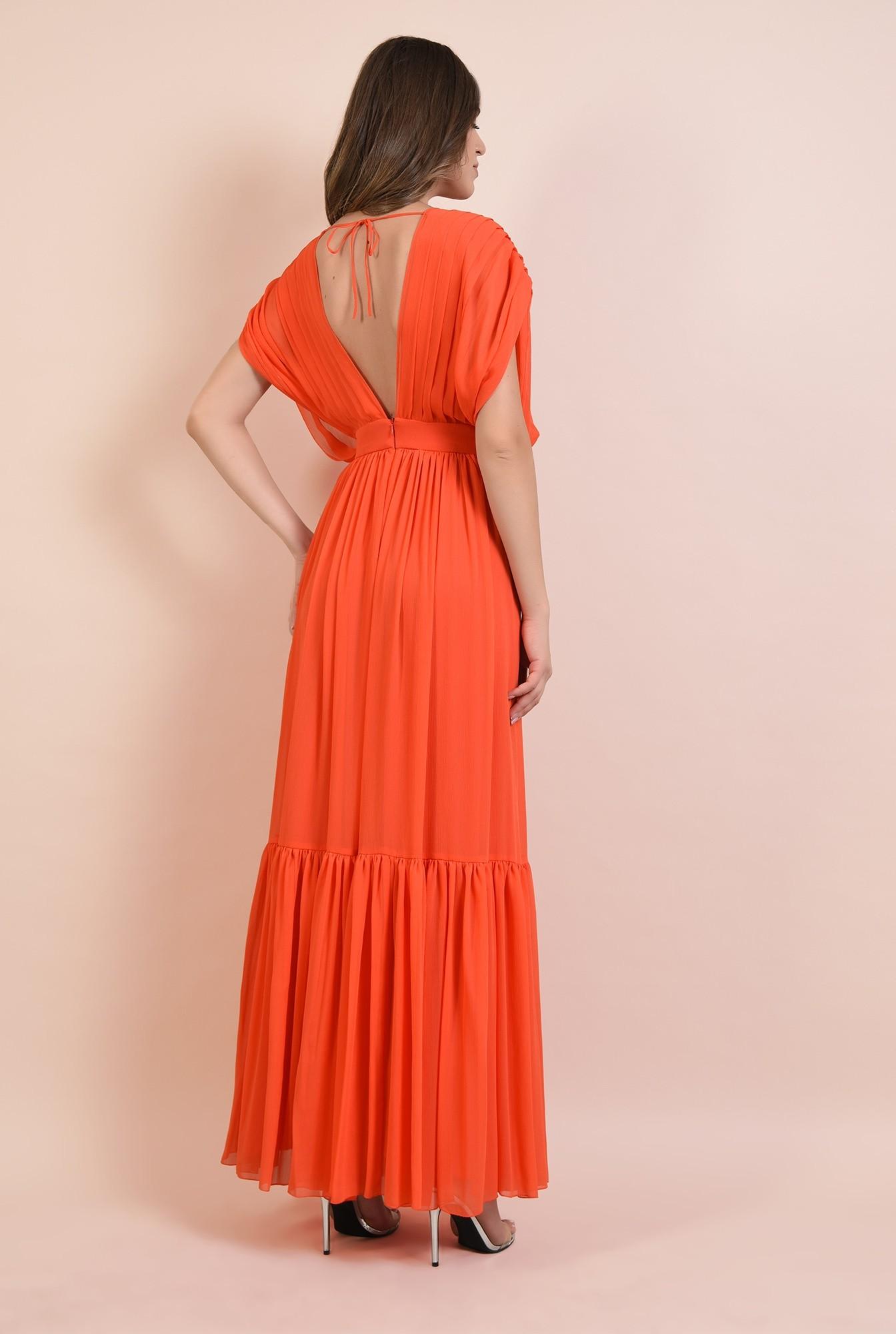 1 - rochie eleganta, lunga, fara maneci, evazata, cu volan, spate gol cu snur