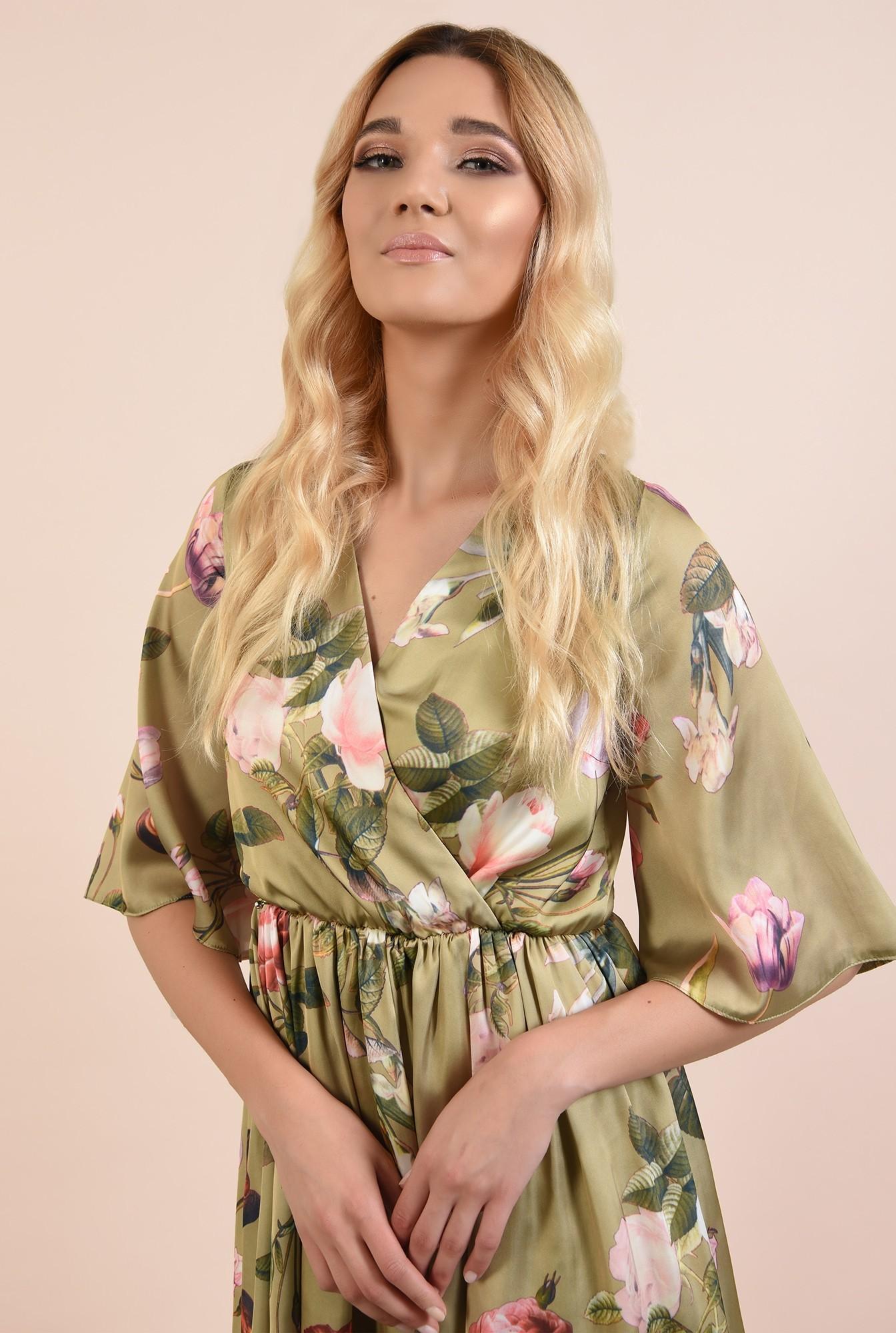 2 - 360 - rochie de ocazie, scurta, din satin, cu imprimeu floral, Poema