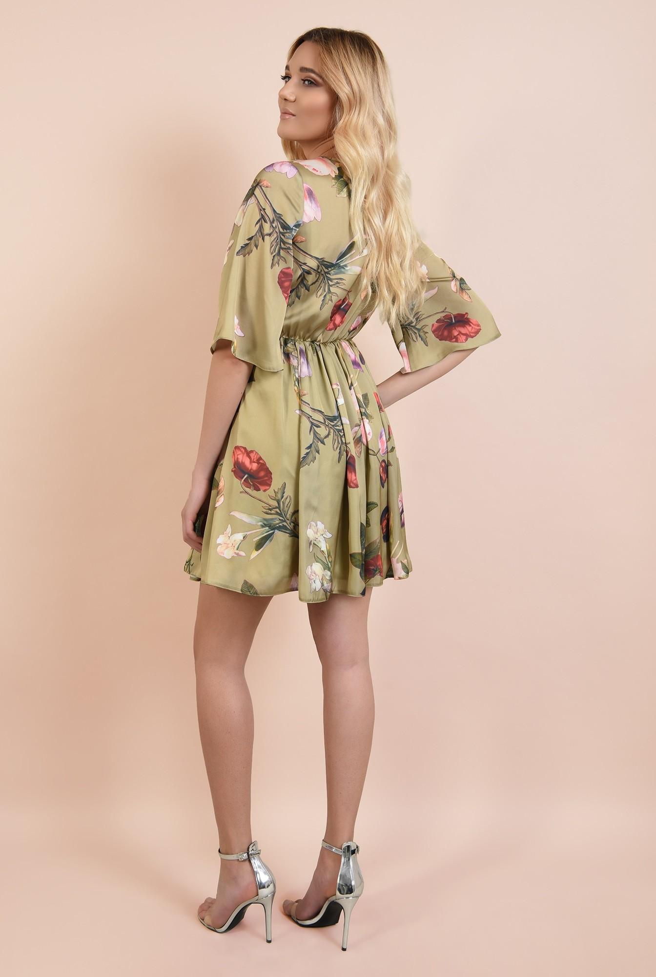 1 - 360 - rochie de ocazie, scurta, din satin, cu imprimeu floral, Poema