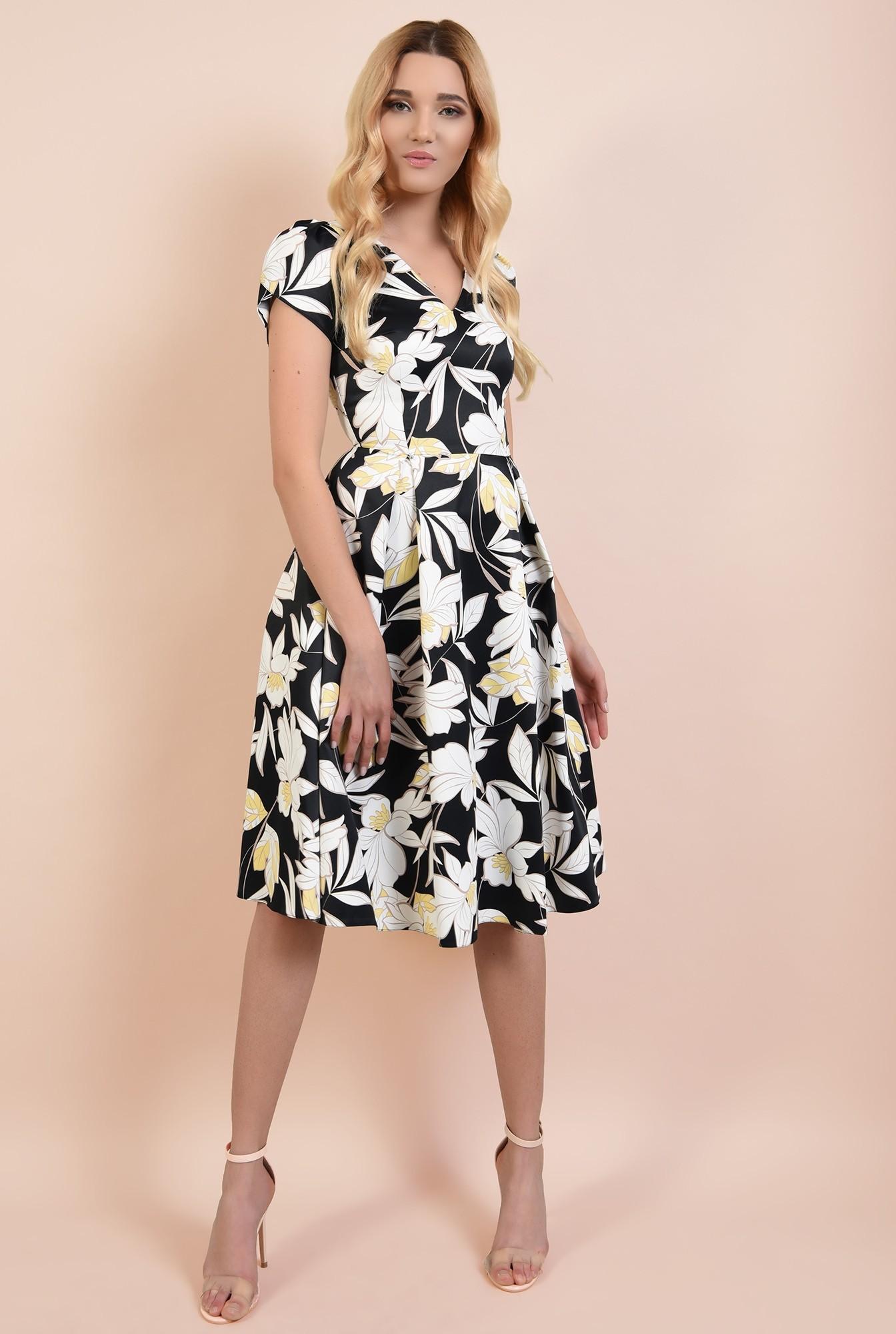 3 - rochie de ocazie, cu motive florale, anchior, maneci bufante lalea
