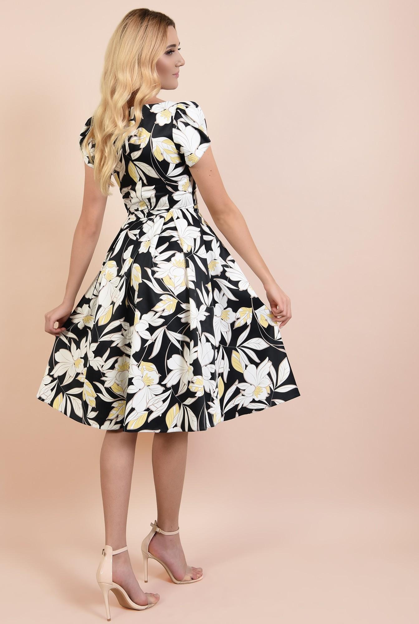 1 - rochie de ocazie, cu motive florale, anchior, maneci bufante lalea