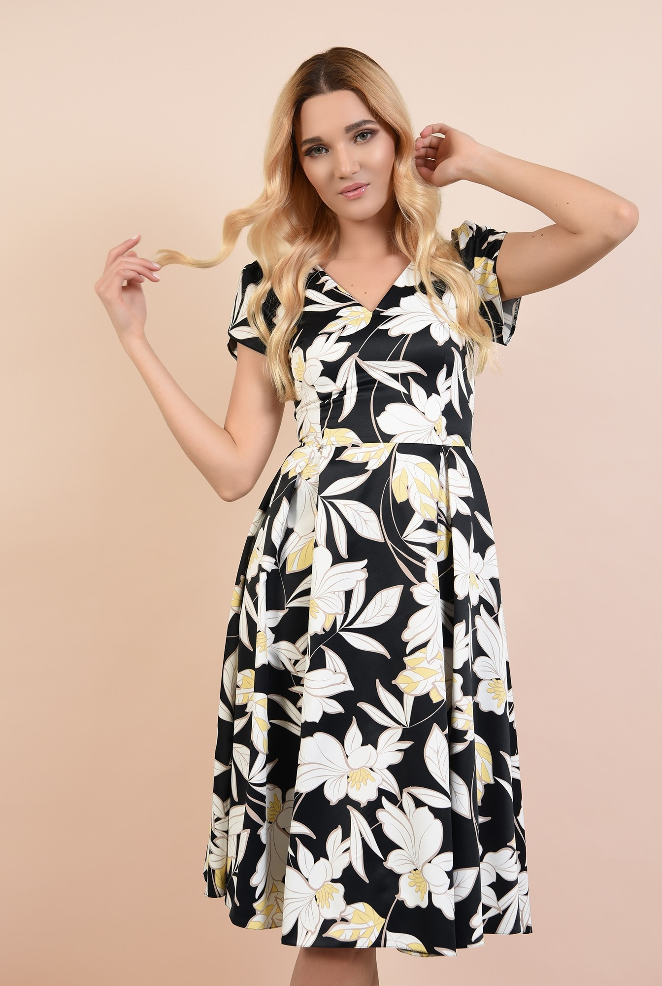 0 - rochie de ocazie, cu motive florale, anchior, maneci bufante lalea