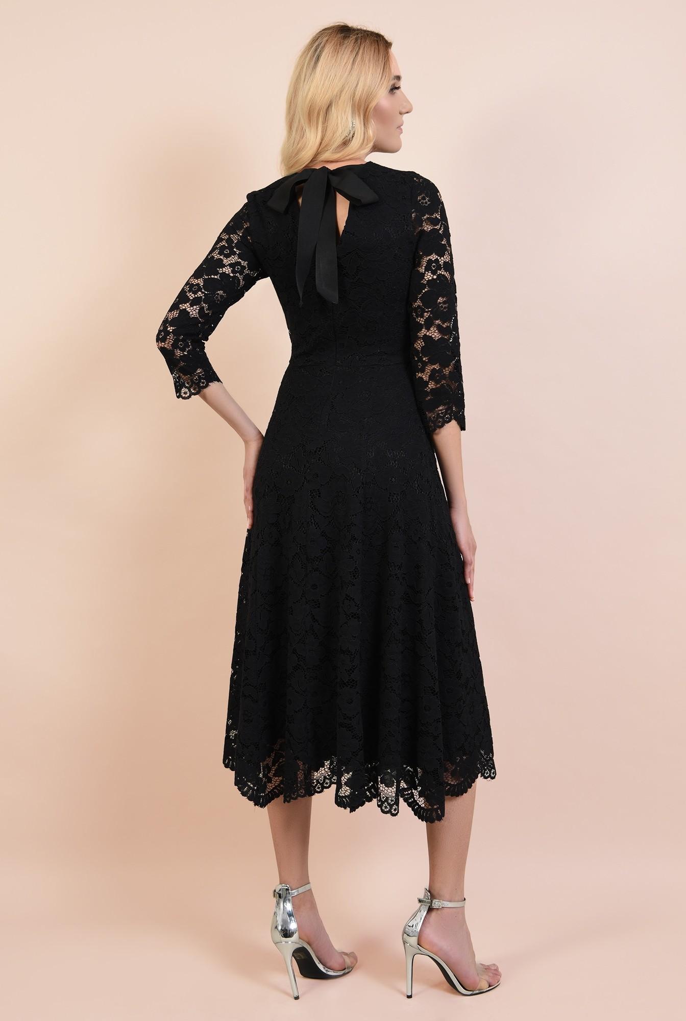 1 - rochie neagra, de seara, midi, evazata, spate decoltat