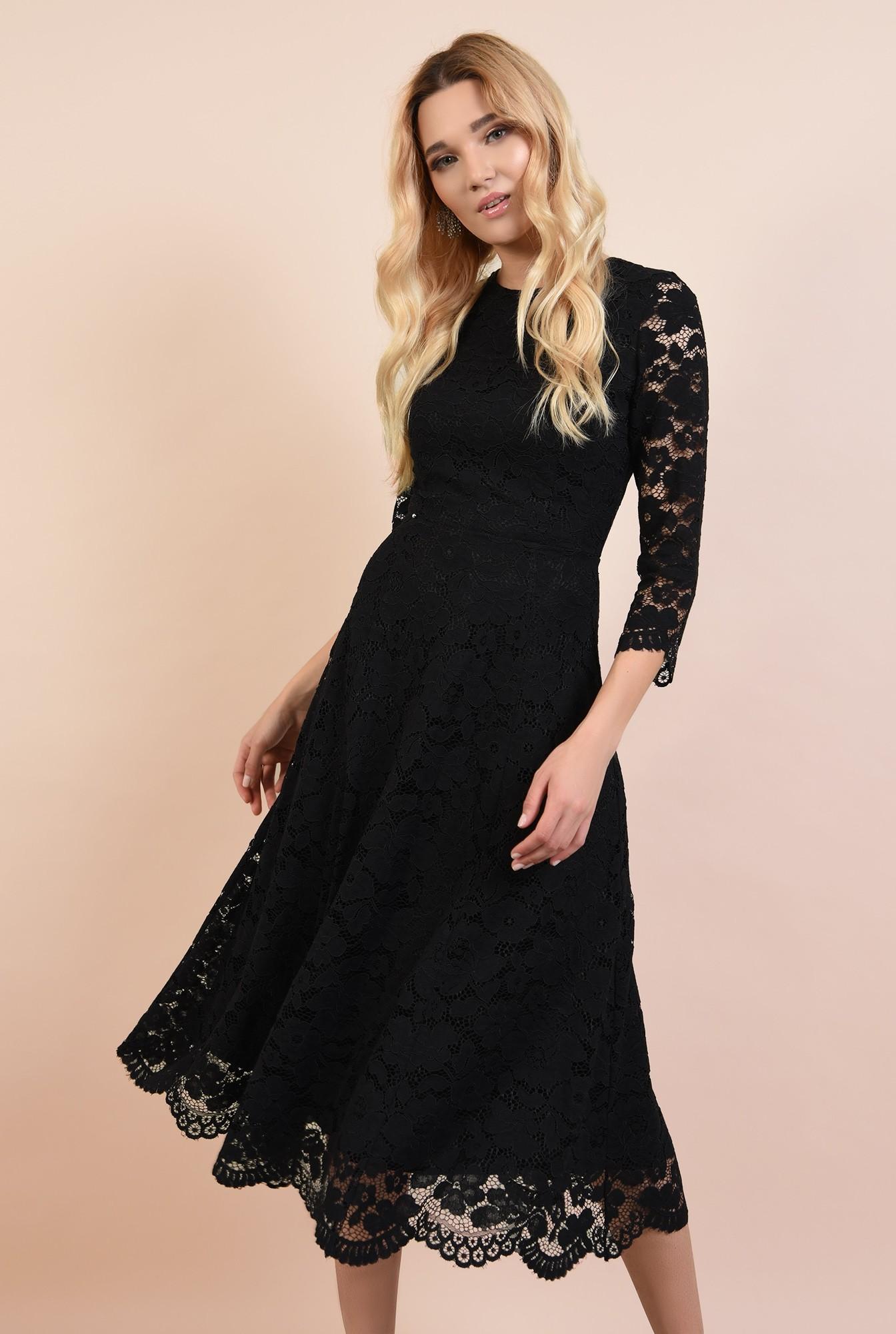 2 - rochie neagra, de seara, midi, evazata, spate decoltat