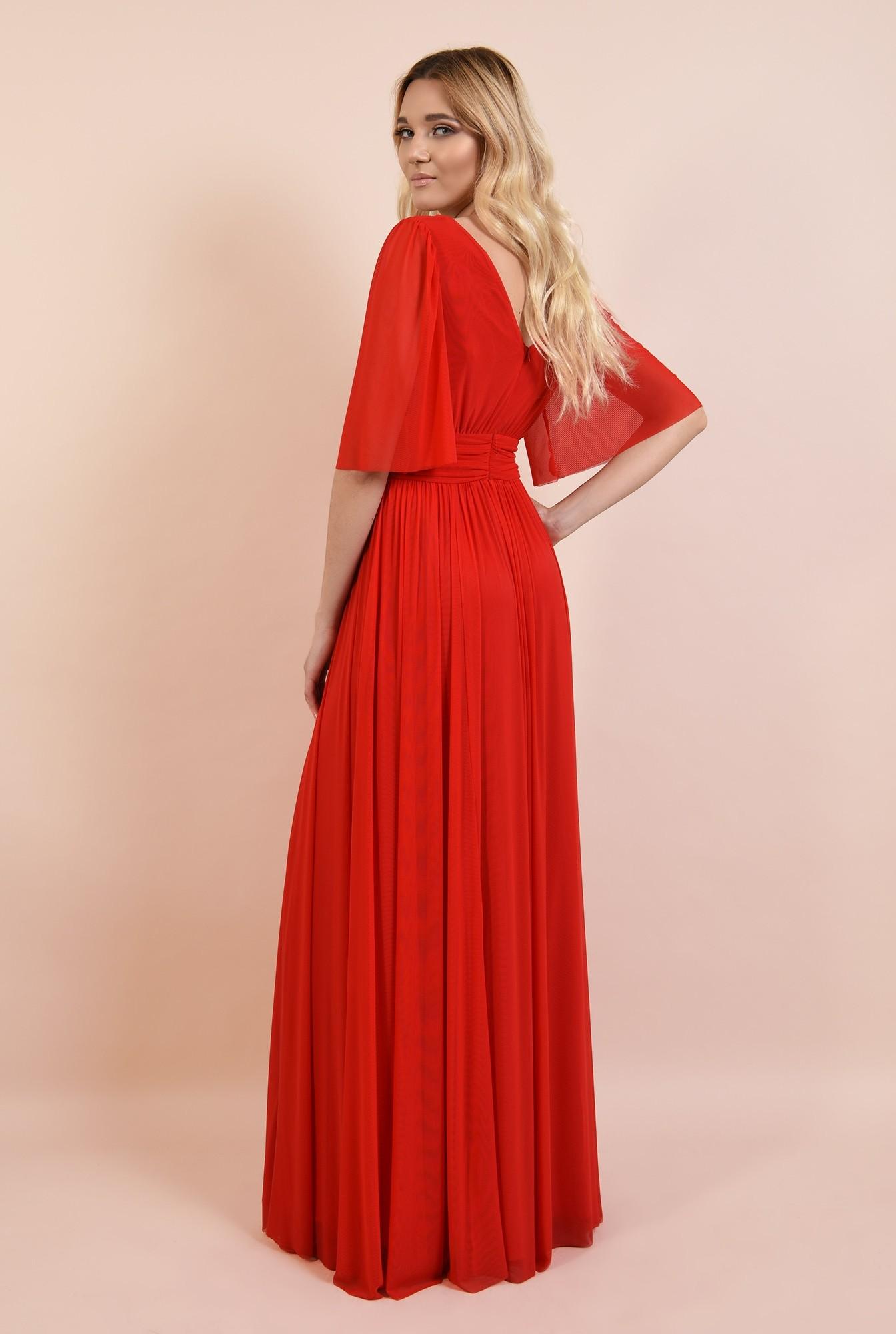 1 - rochie rosie, lunga, de seara, anchior, evazata, maneci fluture, Poema
