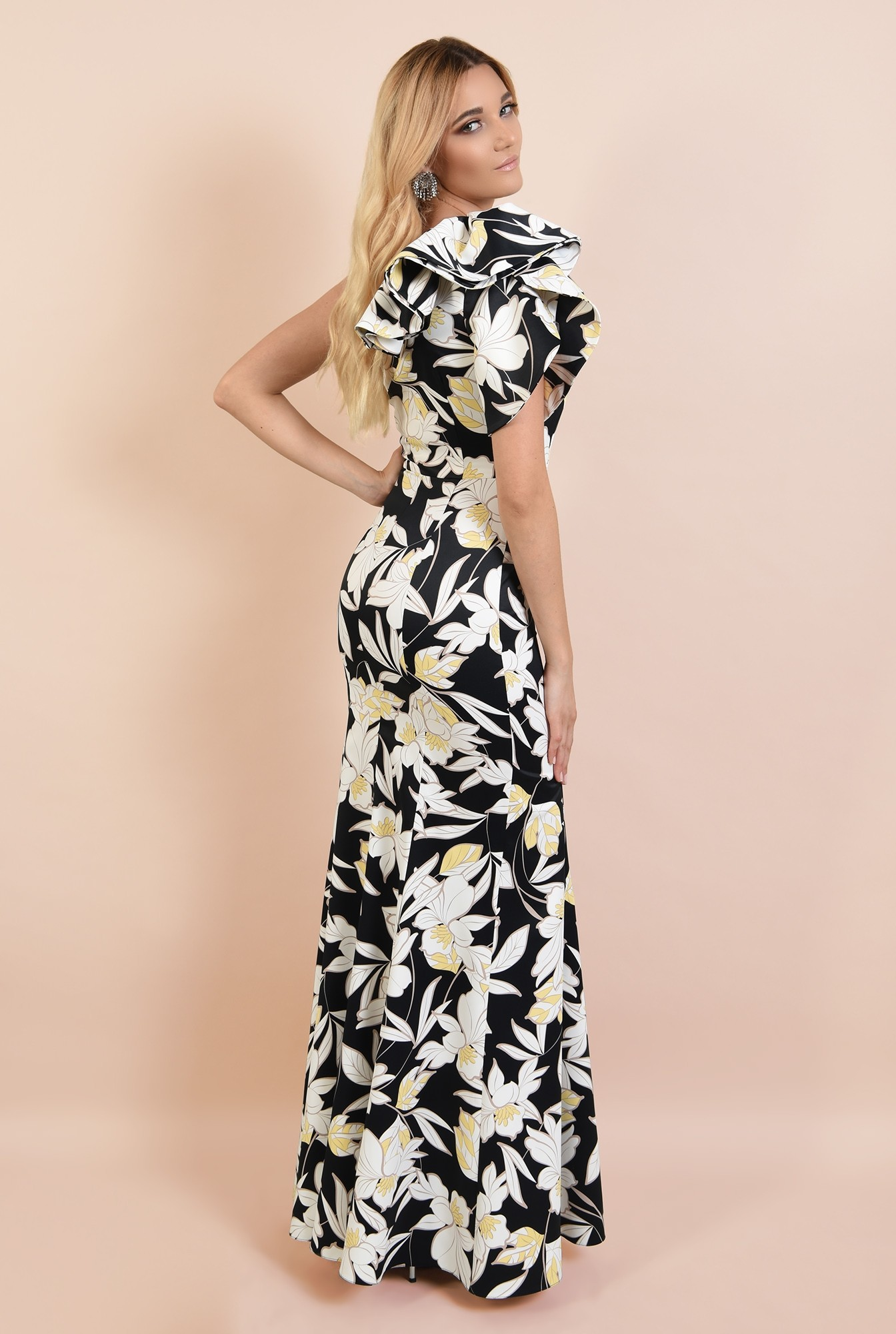 1 - rochie lunga, de seara, cu flori, umar dezgolit, decolteu asimetric