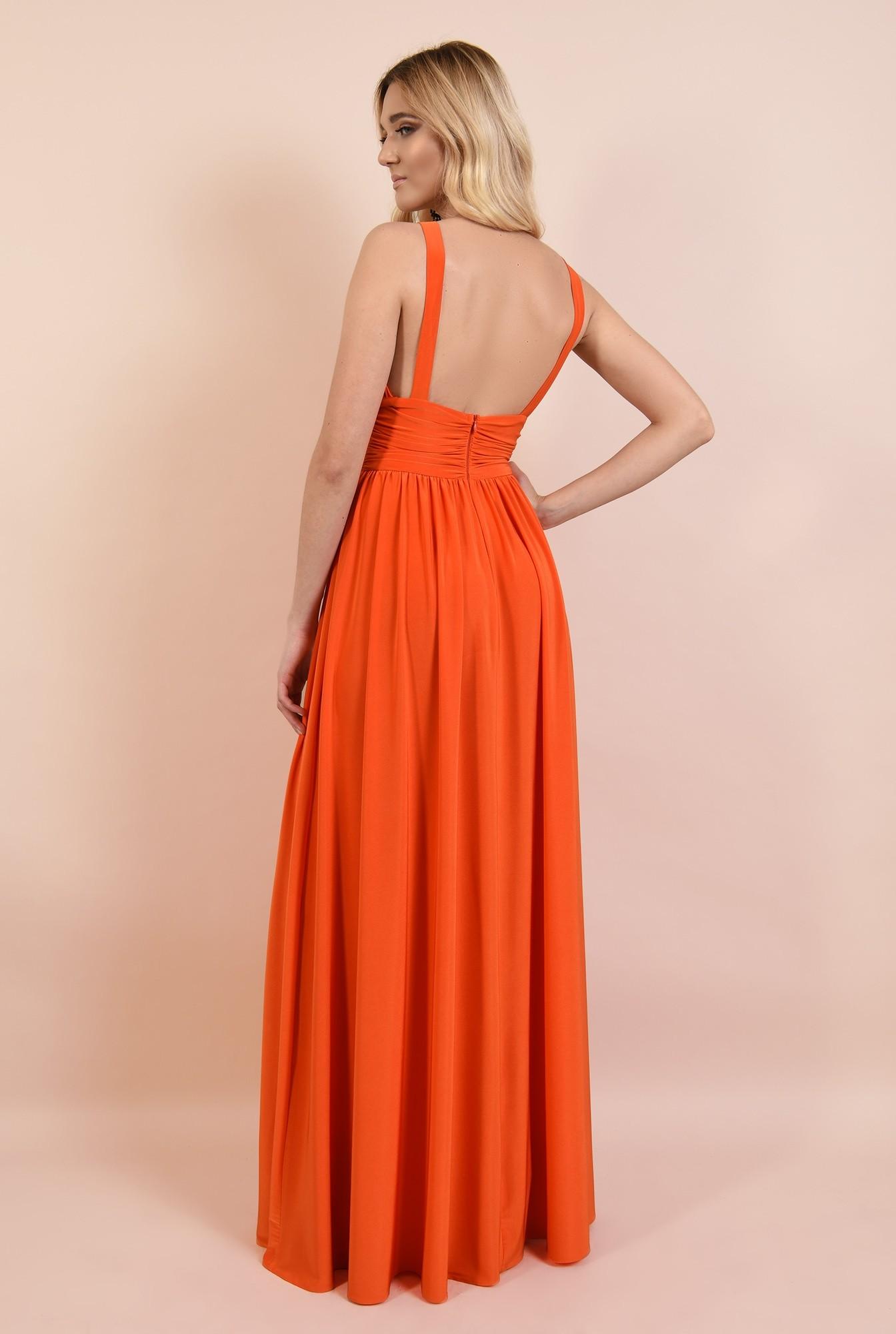 1 - rochie eleganta, cu decolteu adanc, spate dezgolit, bretele, clos, corai