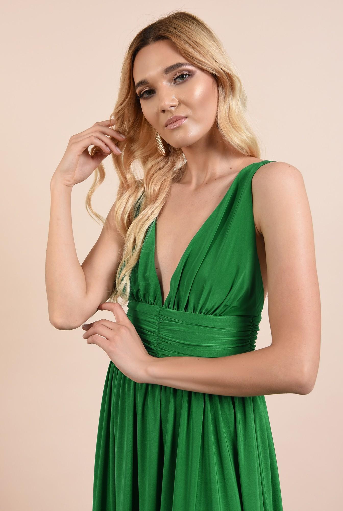2 - rochie de ocazie, verde, din lycra, cu anchior adanc, spate gol, Poema