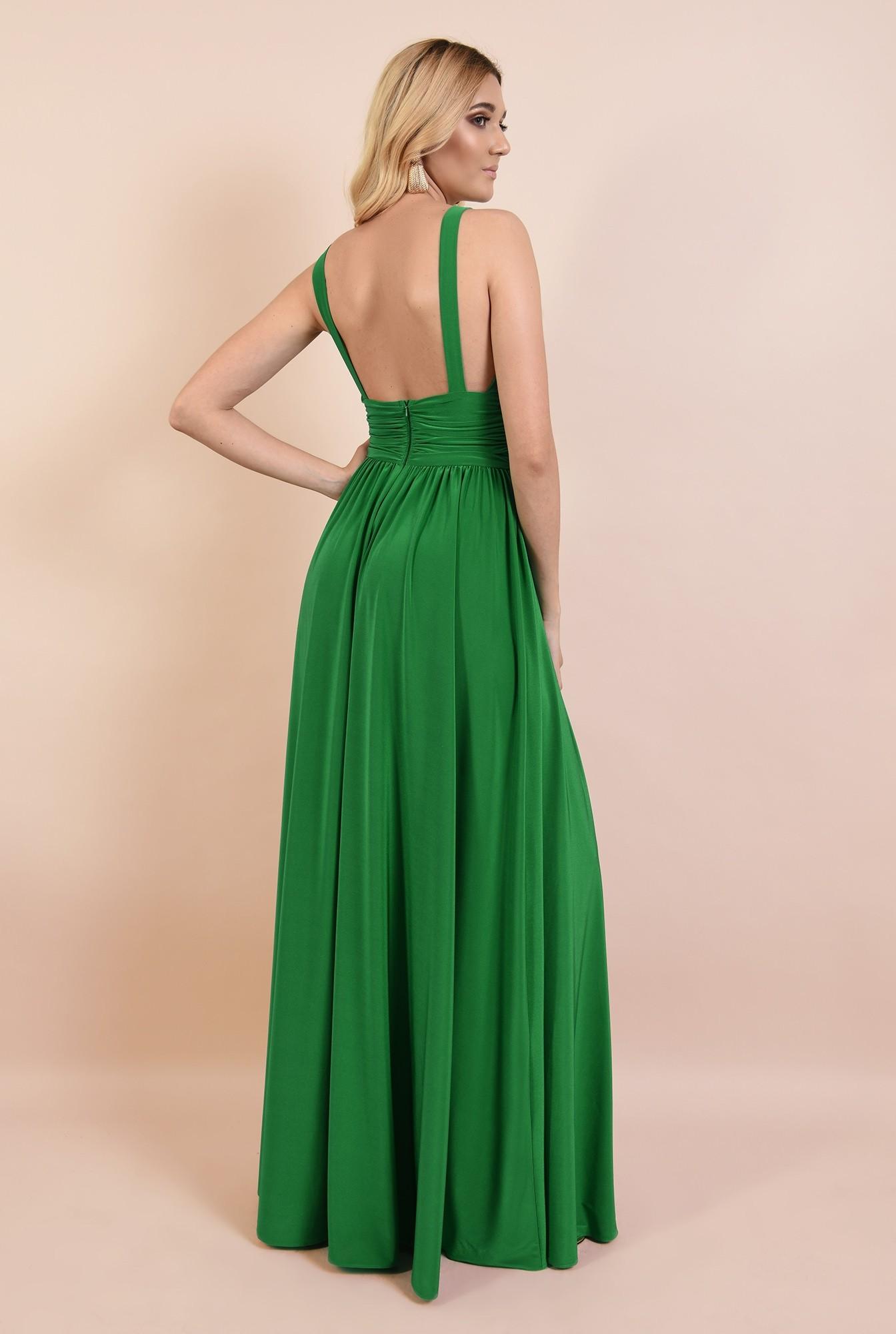 1 - rochie de ocazie, verde, din lycra, cu anchior adanc, spate gol, Poema