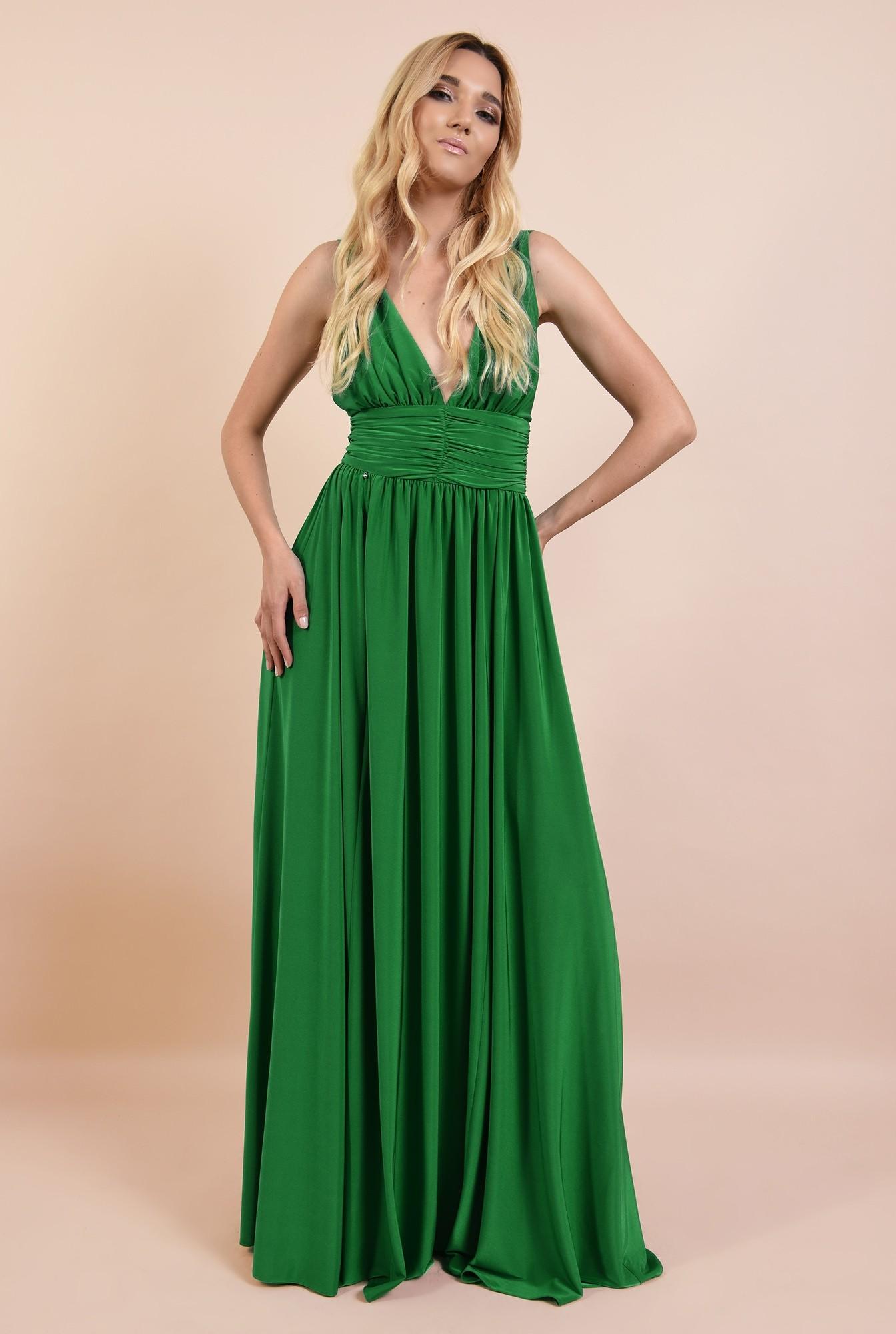 3 - rochie de ocazie, verde, din lycra, cu anchior adanc, spate gol, Poema
