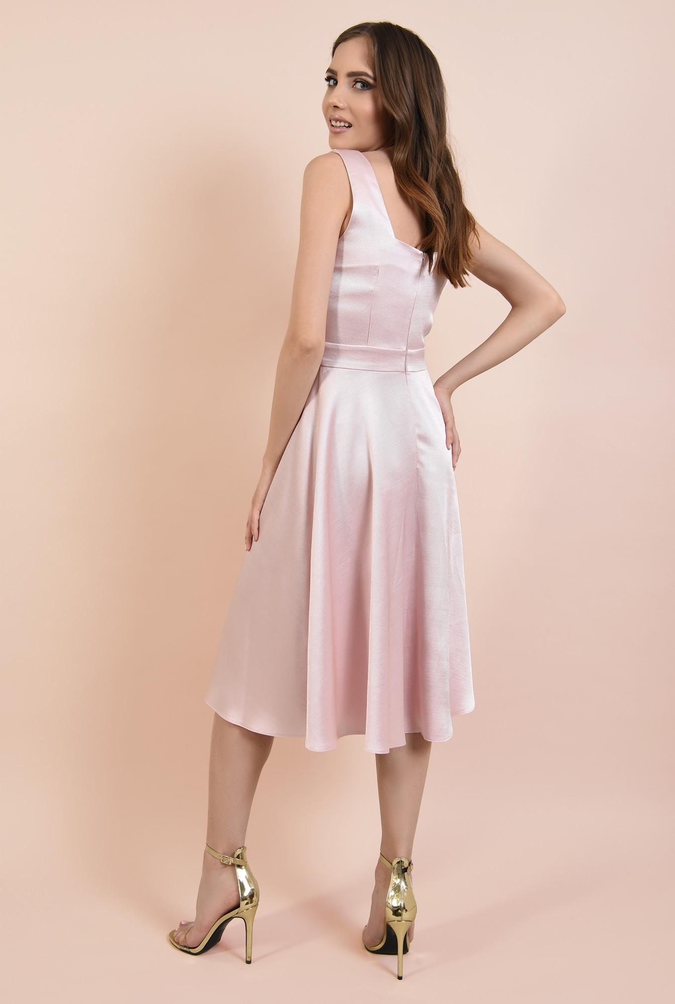 1 - rochie eleganta, cu bretele, croi evazat, inchidere cu fermoar ascuns