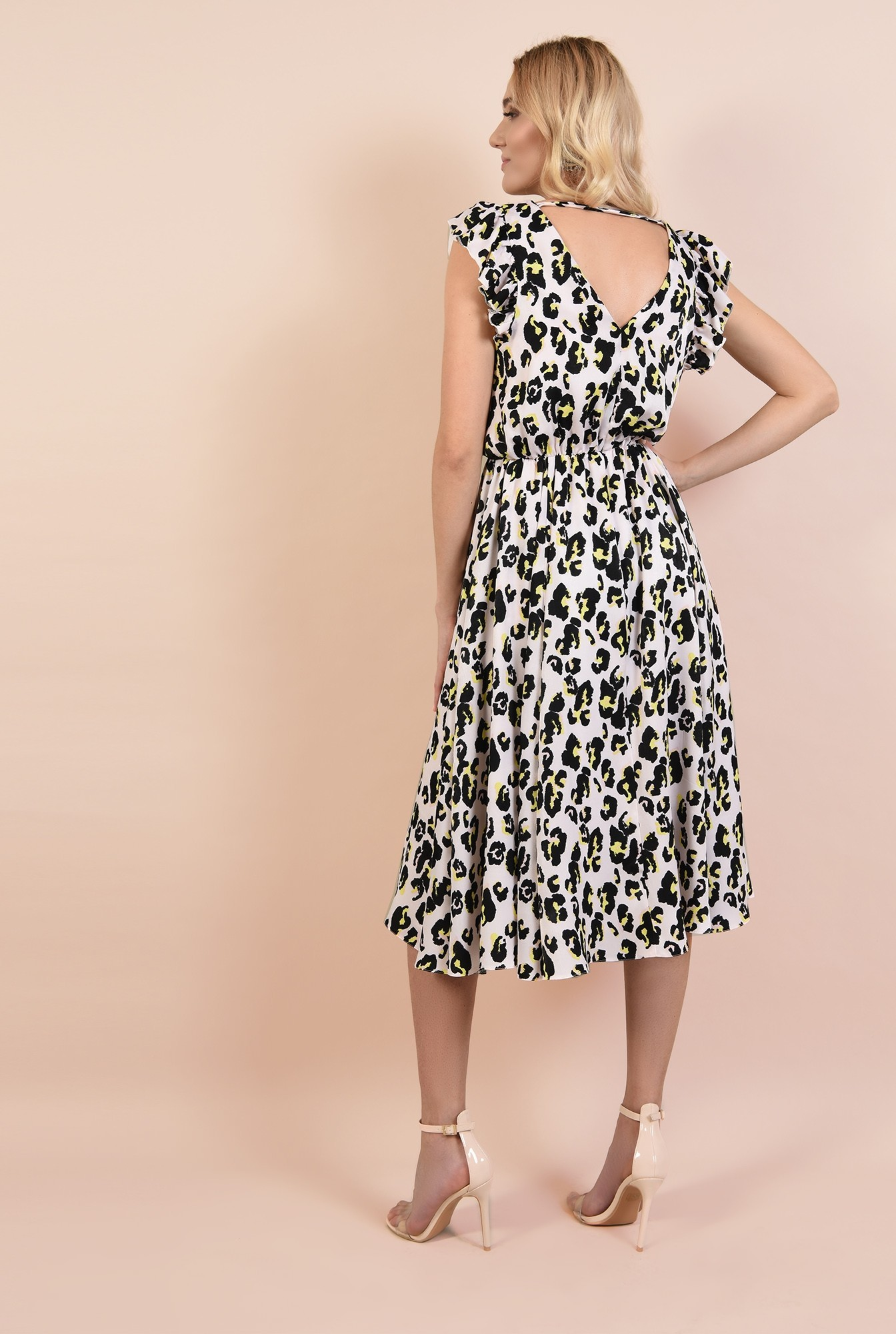 1 - rochie eleganta, cu motive, talie pe elastic, spate decoltat, volane