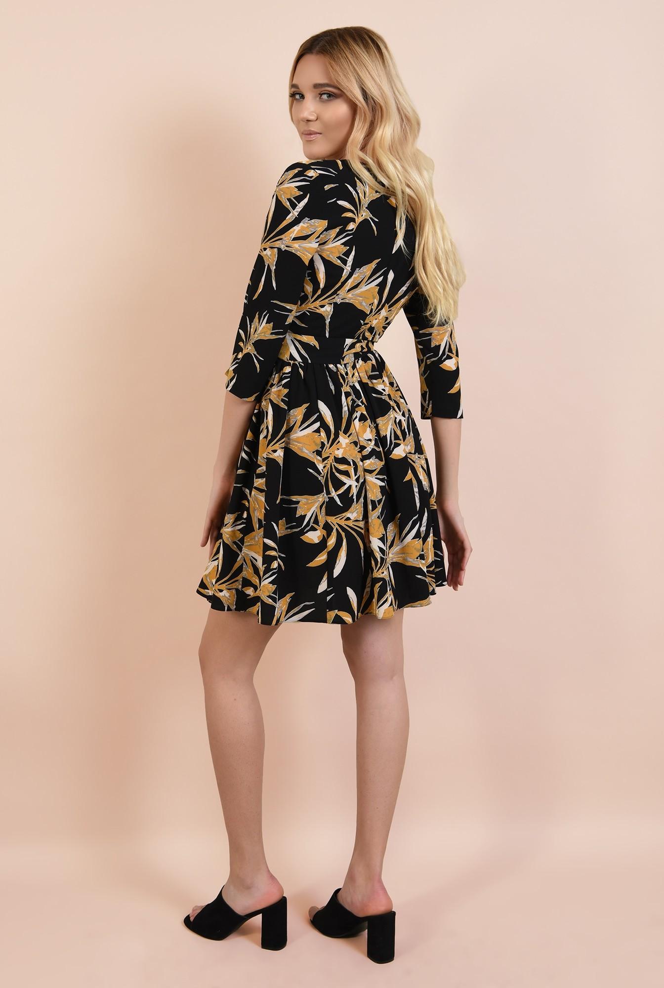 1 - 360 - rochie casual, scurta, cu print floral, anchior petrecut, Poema
