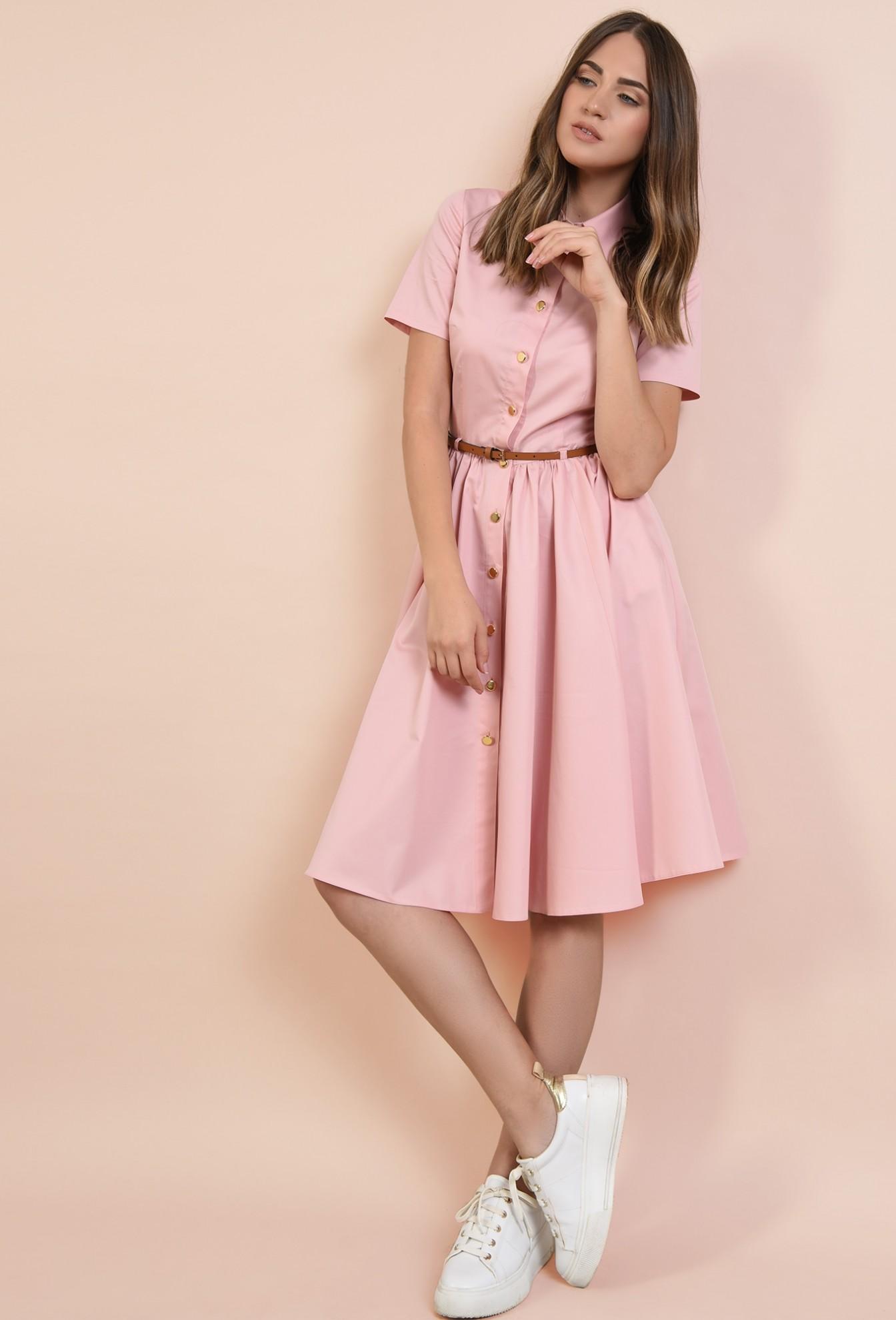 3 - rochie casual, Poema, roz, din bumbac, nasturi, curea, cu guler