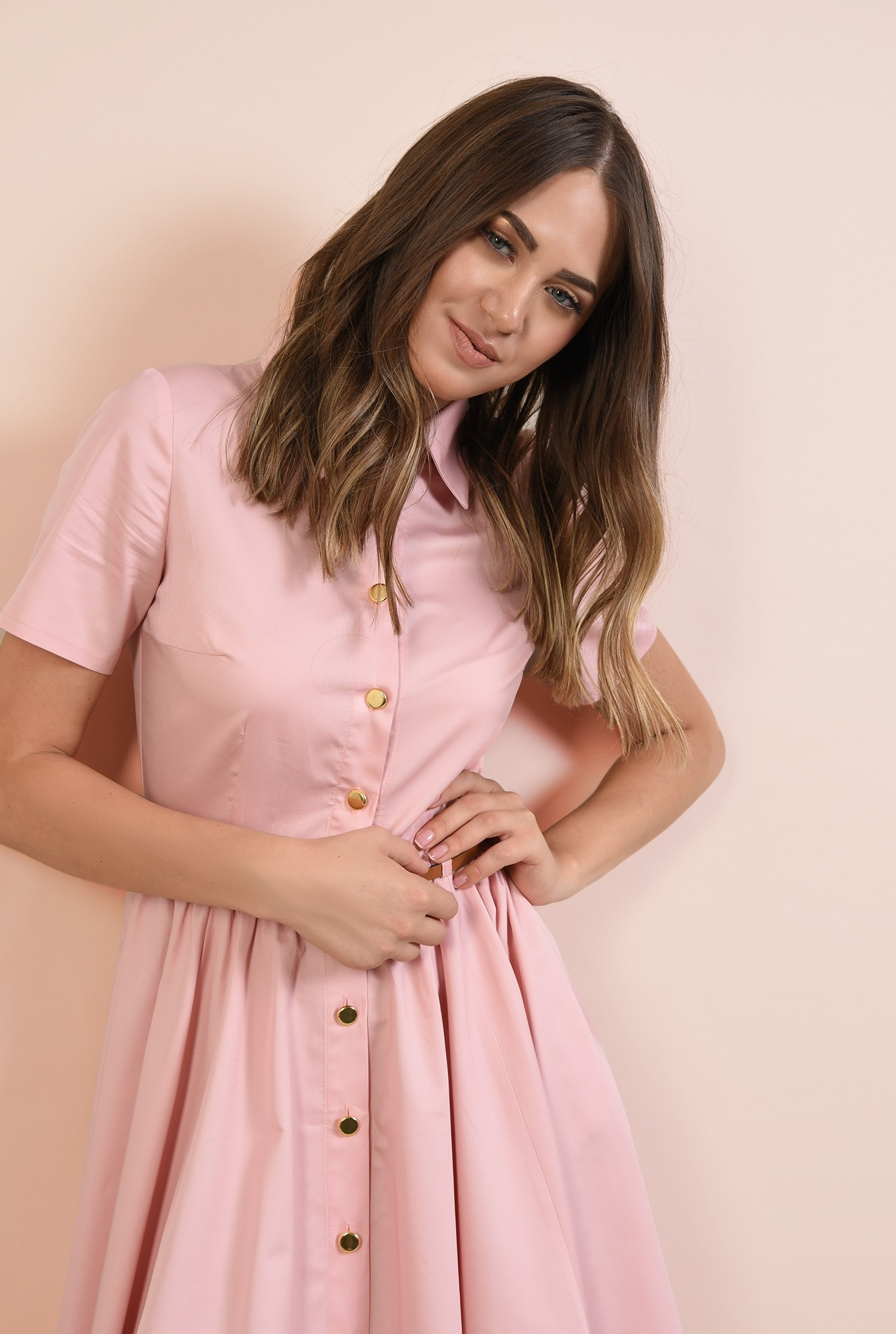 2 - rochie casual, Poema, roz, din bumbac, nasturi, curea, cu guler