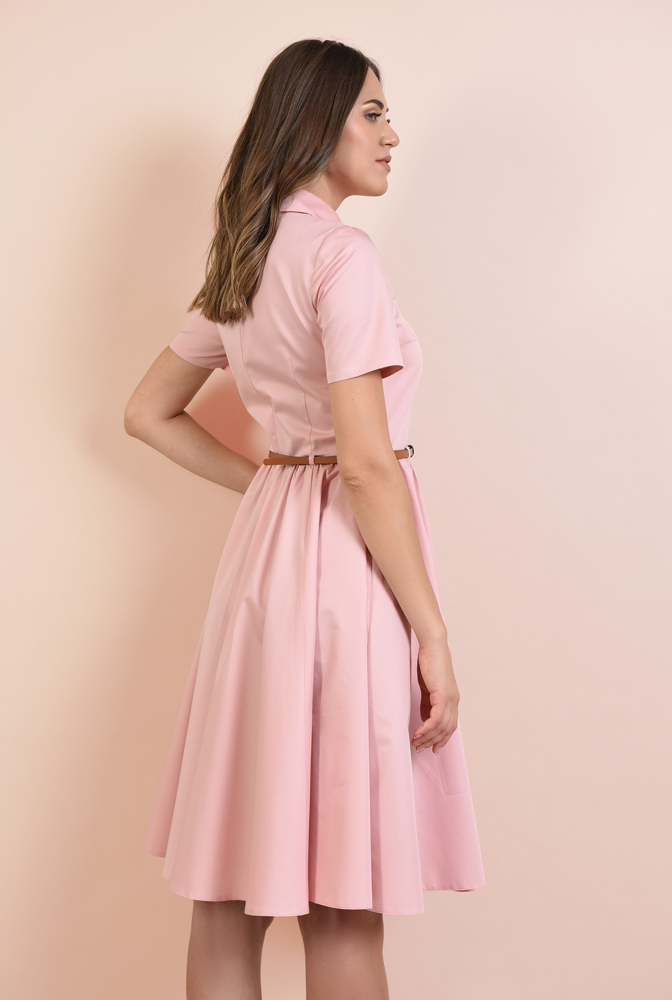 1 - rochie casual, Poema, roz, din bumbac, nasturi, curea, cu guler
