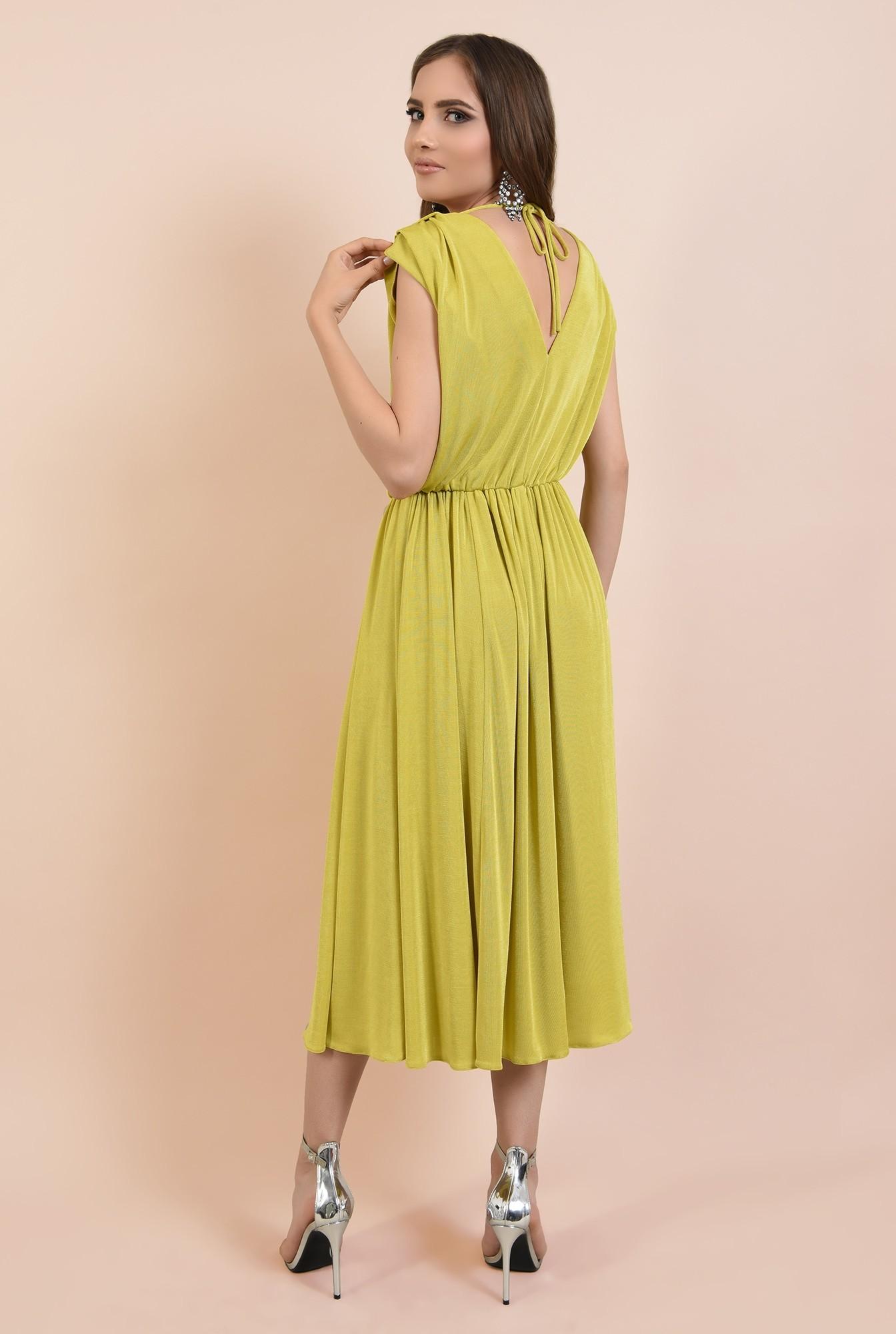 1 - rochie de ocazie, clos, fara maneci, lycra, verde lime, Poema