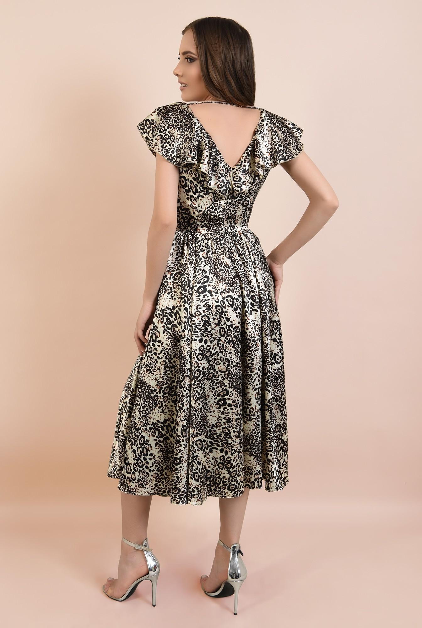 1 - rochie eleganta, din satin imprimat, cu volane, croi clos