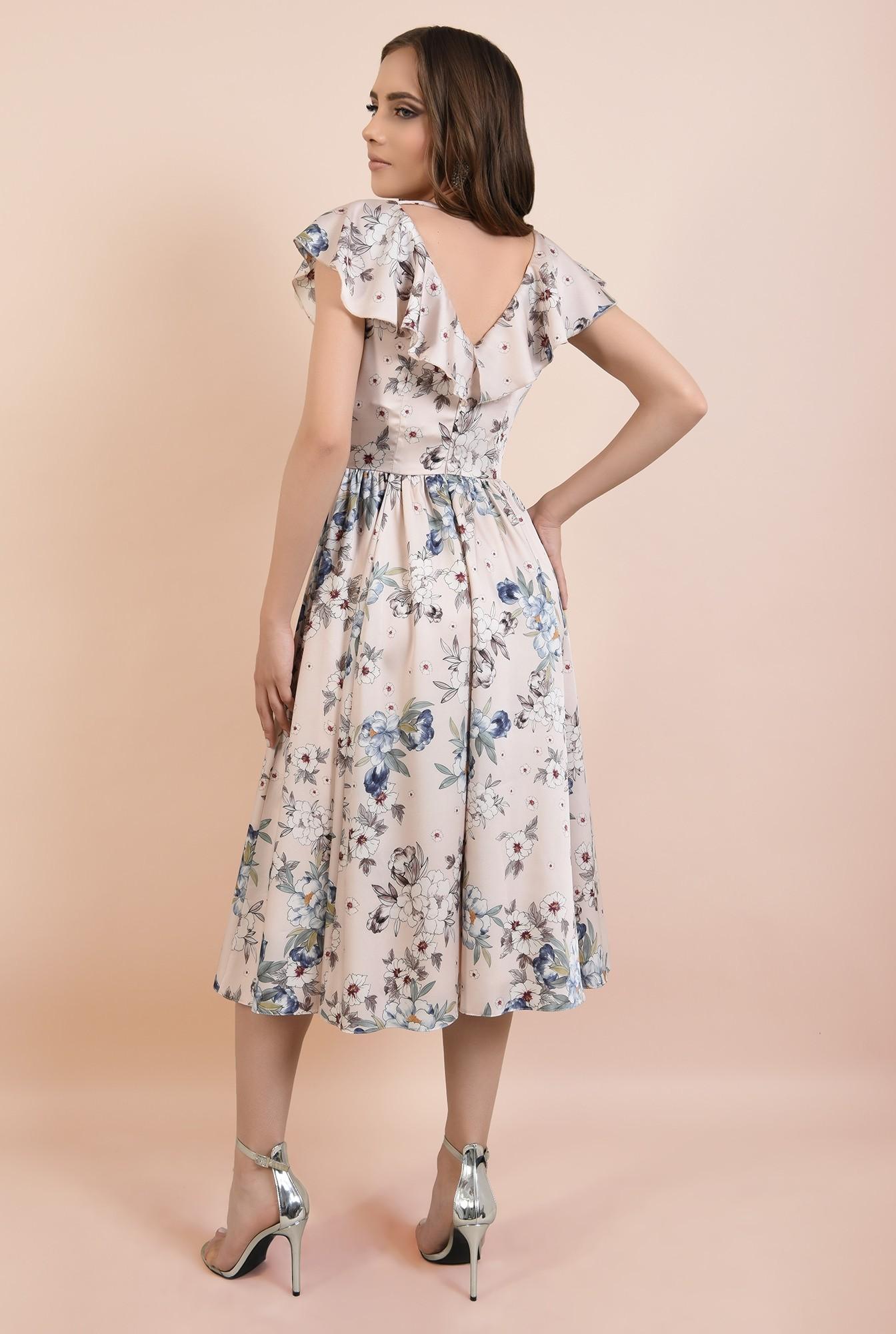 1 - rochie eleganta, evazata, anchior petrecut, maneci volan, imprimata, Poema