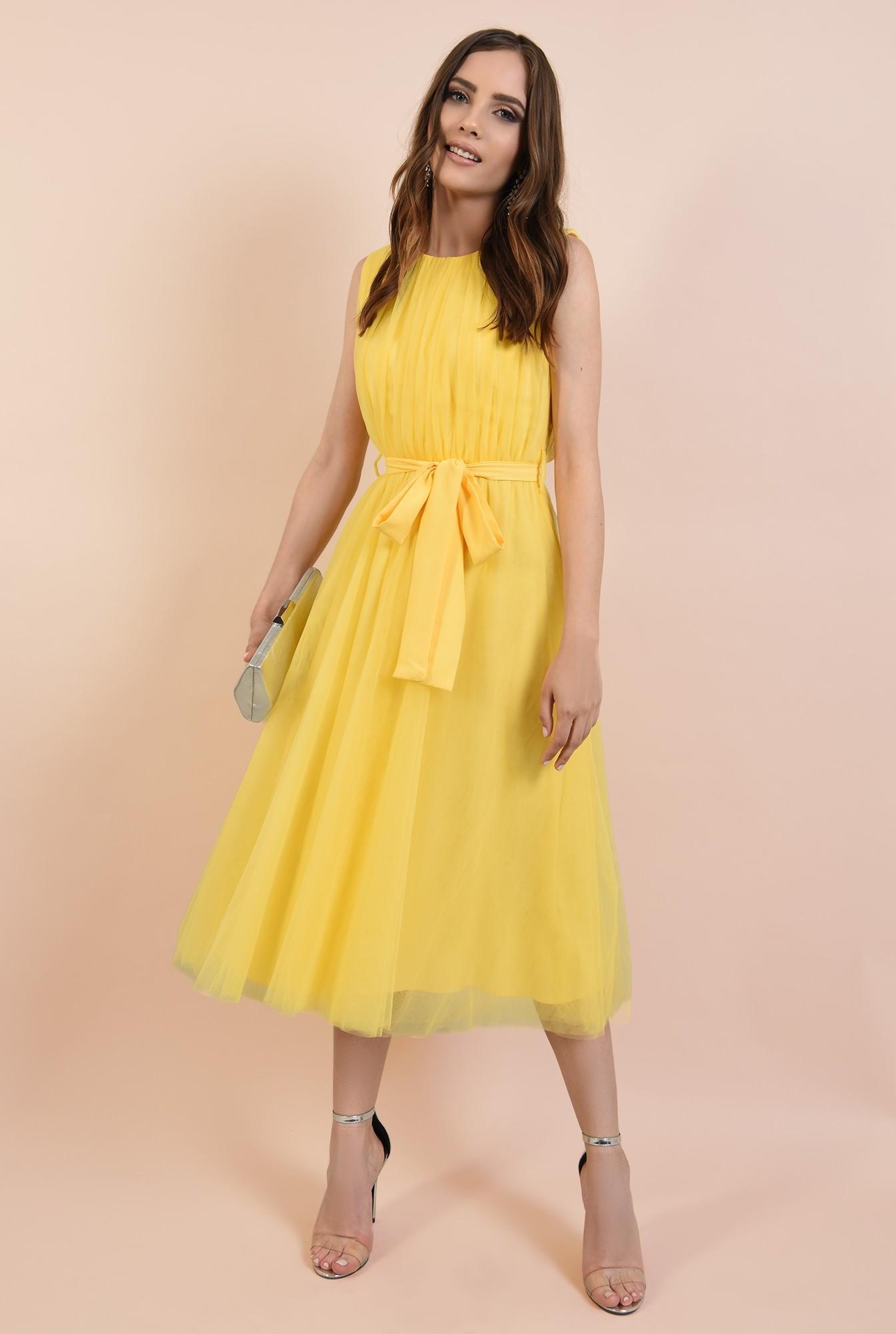 3 - rochie de seara, din tul galben, funda la talie, Poema, croi clos
