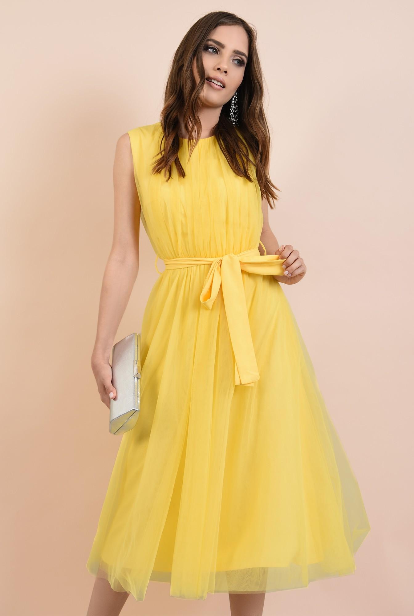 0 - rochie de seara, din tul galben, funda la talie, Poema, croi clos