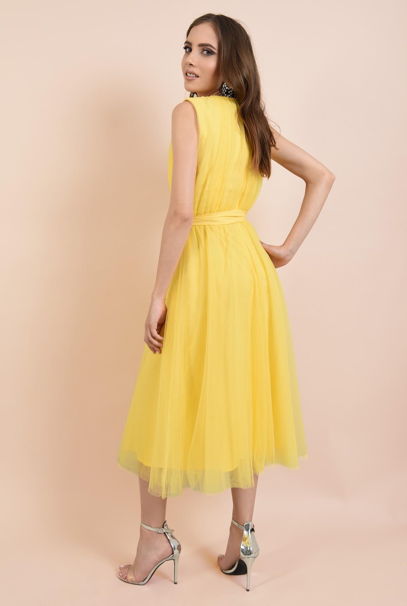 1 - rochie de seara, din tul galben, funda la talie, Poema, croi clos