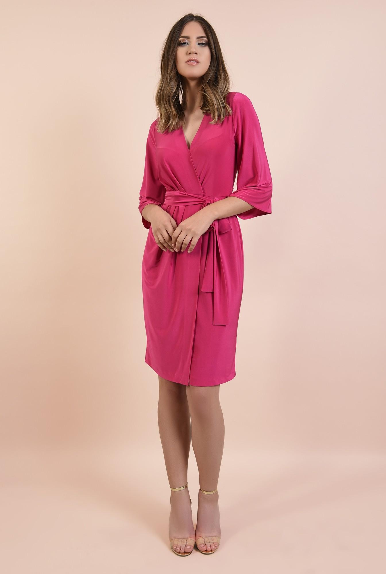 3 - rochie eleganta, midi, croi drept petrecut, cu cordon, maneci evazate, Poema