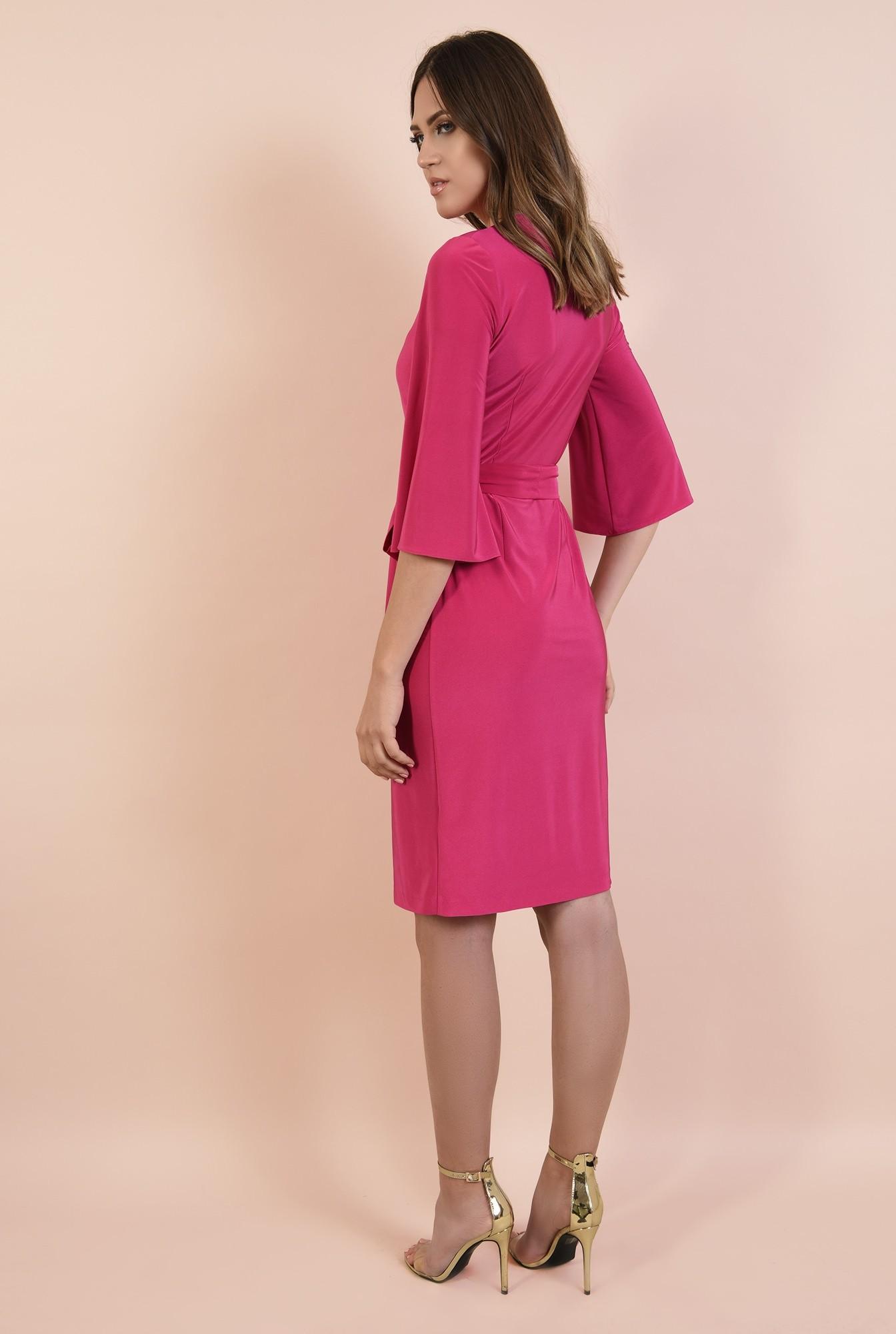 1 - rochie eleganta, midi, croi drept petrecut, cu cordon, maneci evazate, Poema
