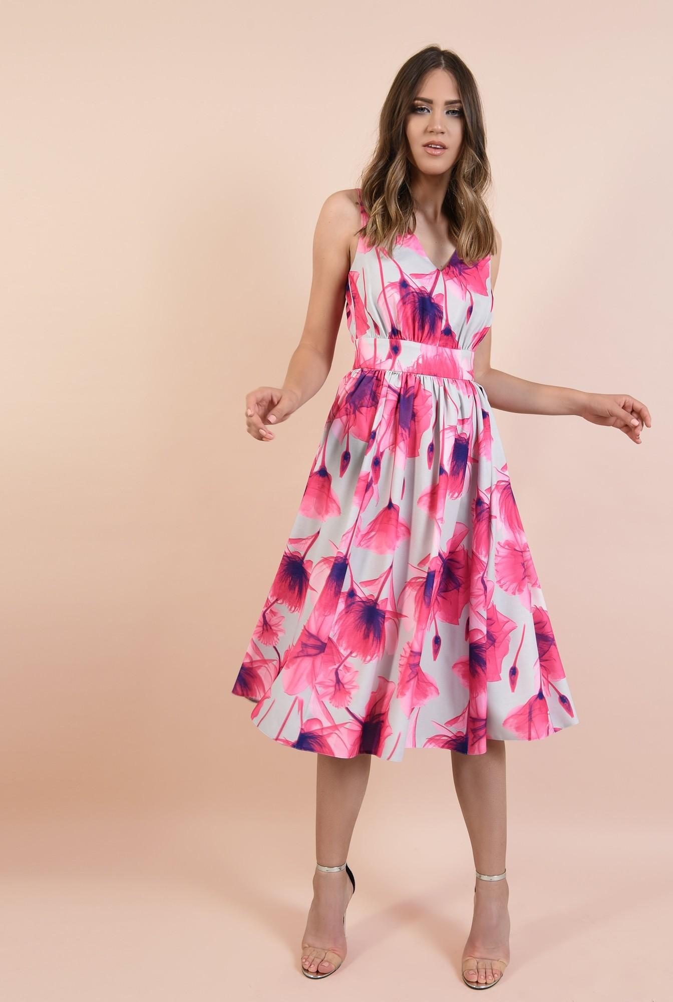 3 - rochie eleganta, croi pe bie, decolteu in V, midi, evazata, cu flori