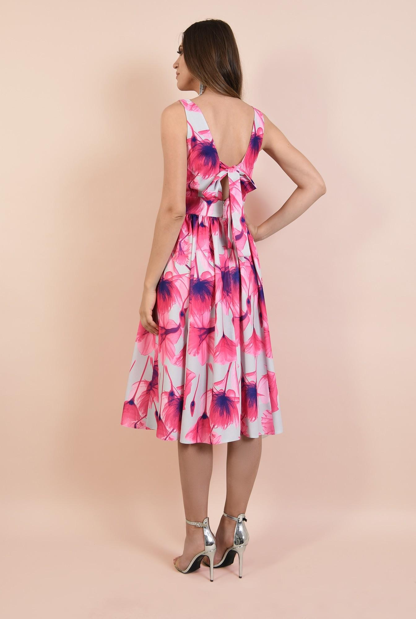 1 - rochie eleganta, croi pe bie, decolteu in V, midi, evazata, cu flori