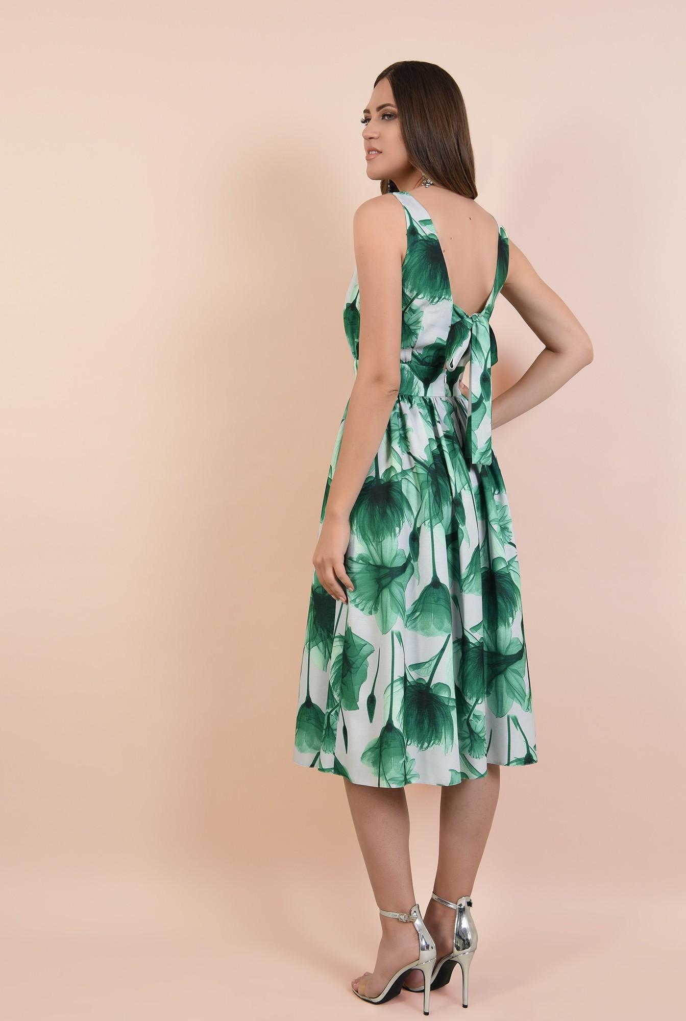 1 - rochie eleganta, midi, clos, cu flori, fara maneci, Poema, talie cu betelie, spate decoltat
