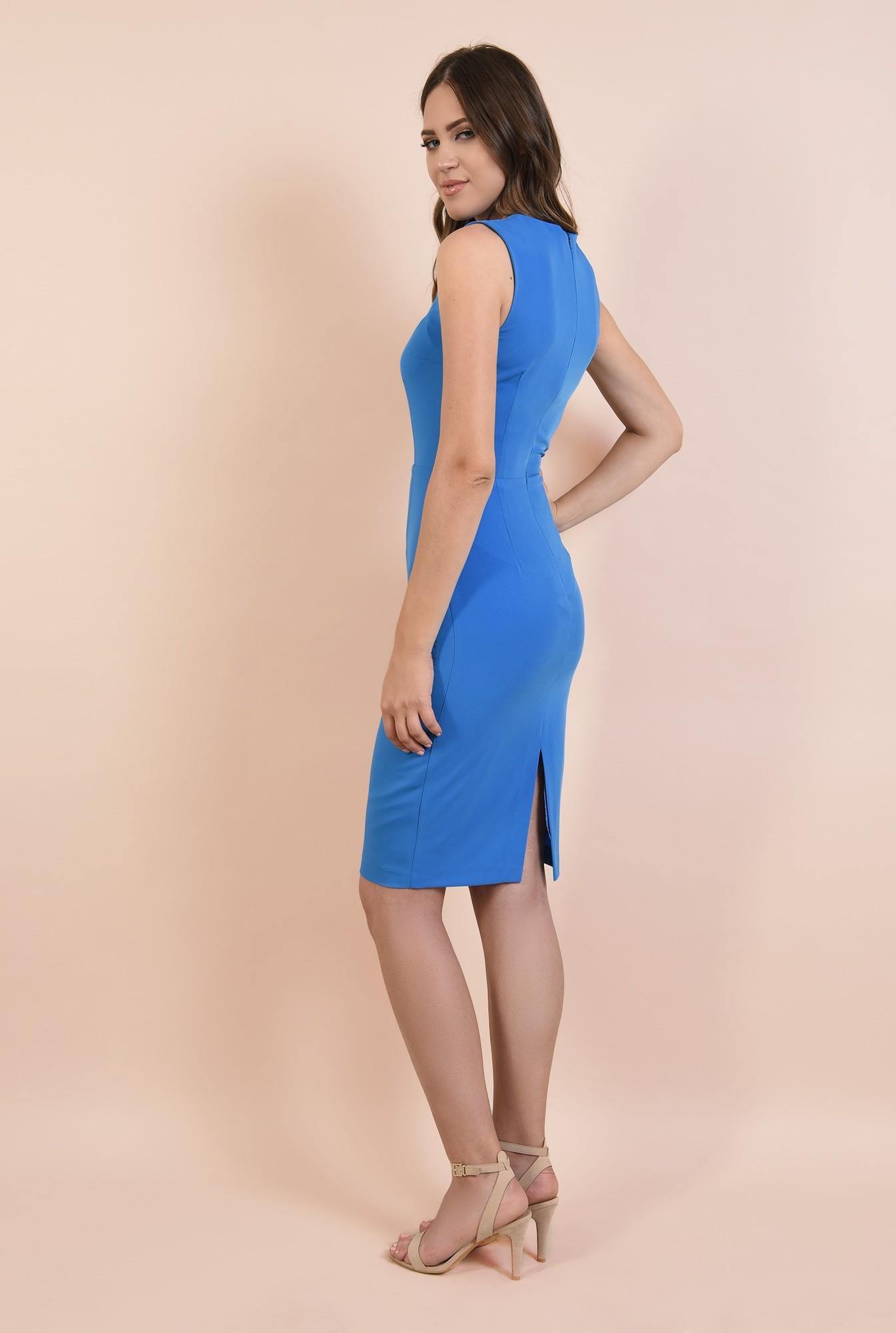 1 - rochie office, albastra, creion, cambrata, decolteu cu fenta, cusatura in talie