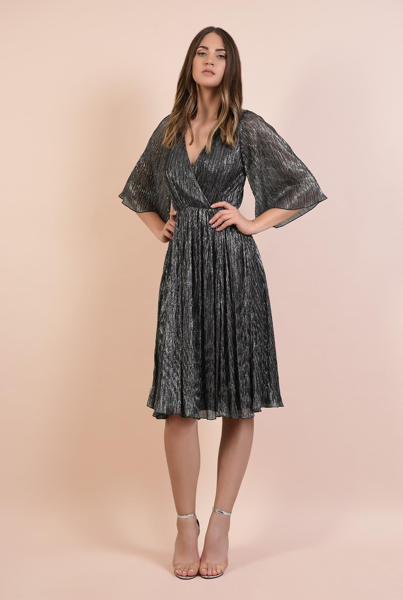 3 - rochie de ocazie, din lurex, fir metalic multicolor, maneci fluture, Poema