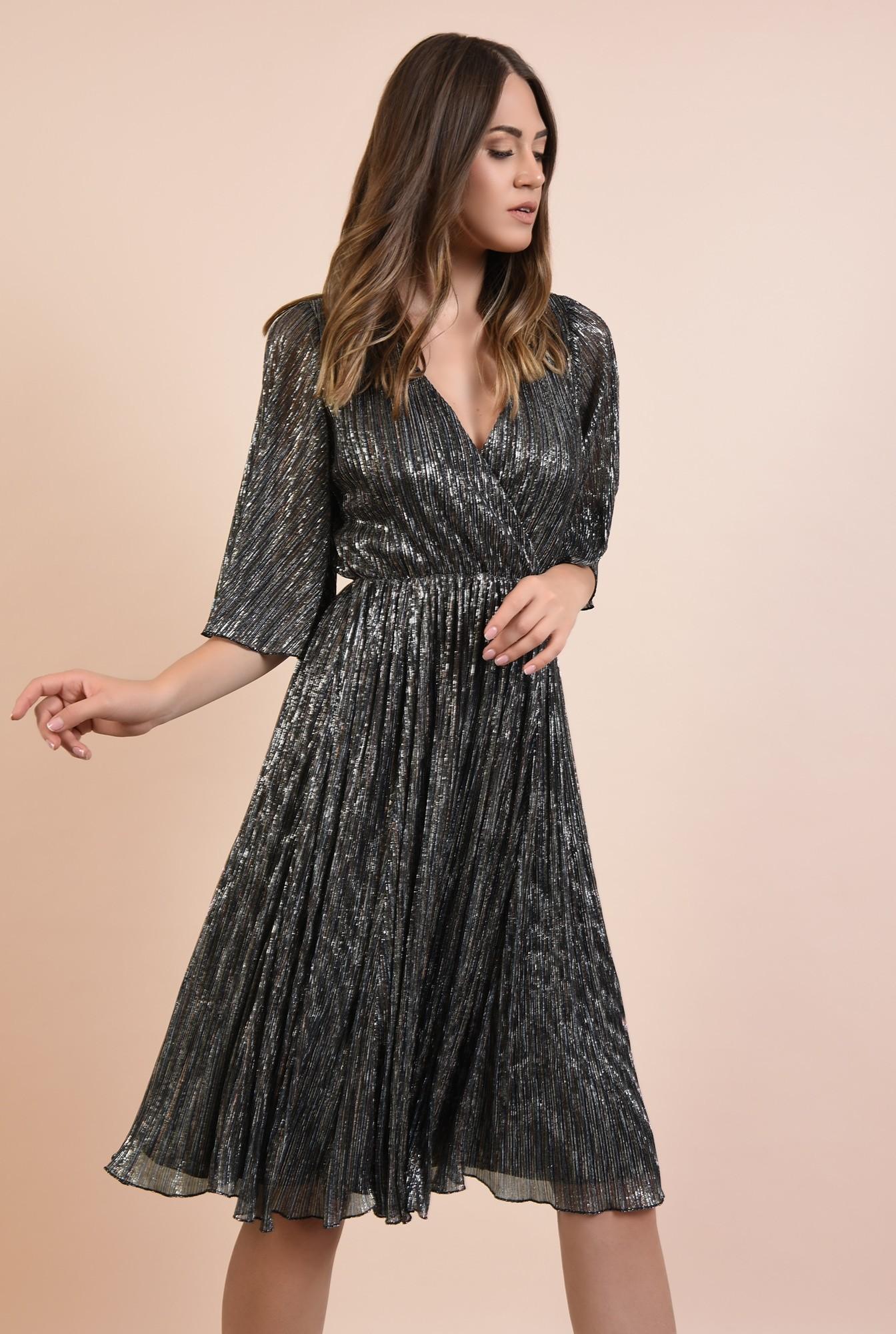 2 - rochie de ocazie, din lurex, fir metalic multicolor, maneci fluture, Poema