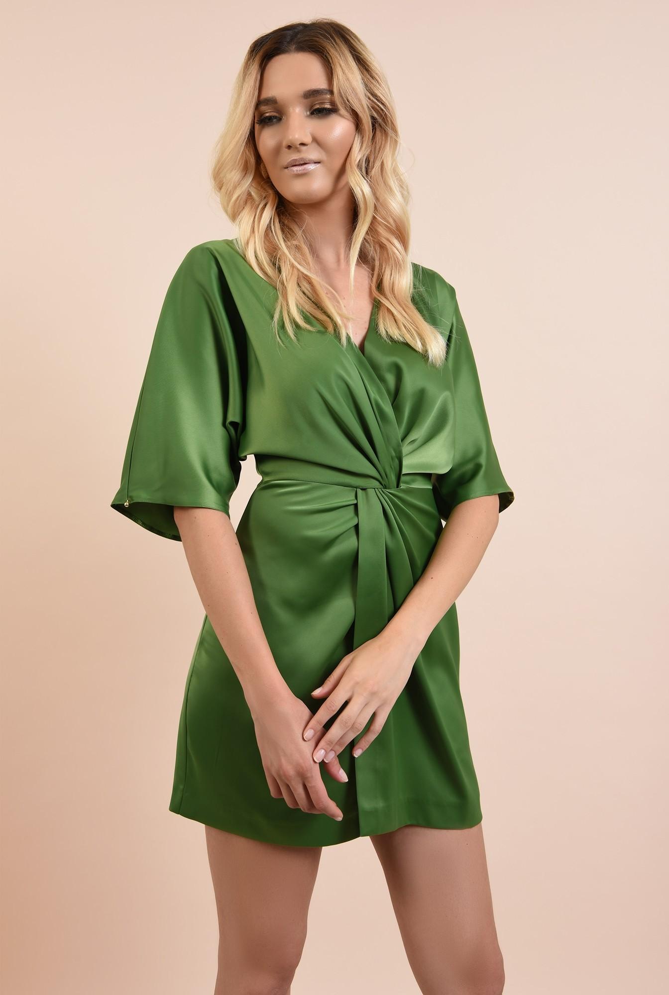 0 - rochie eleganta, verde, din satin, anchior petrecut, talie drapata