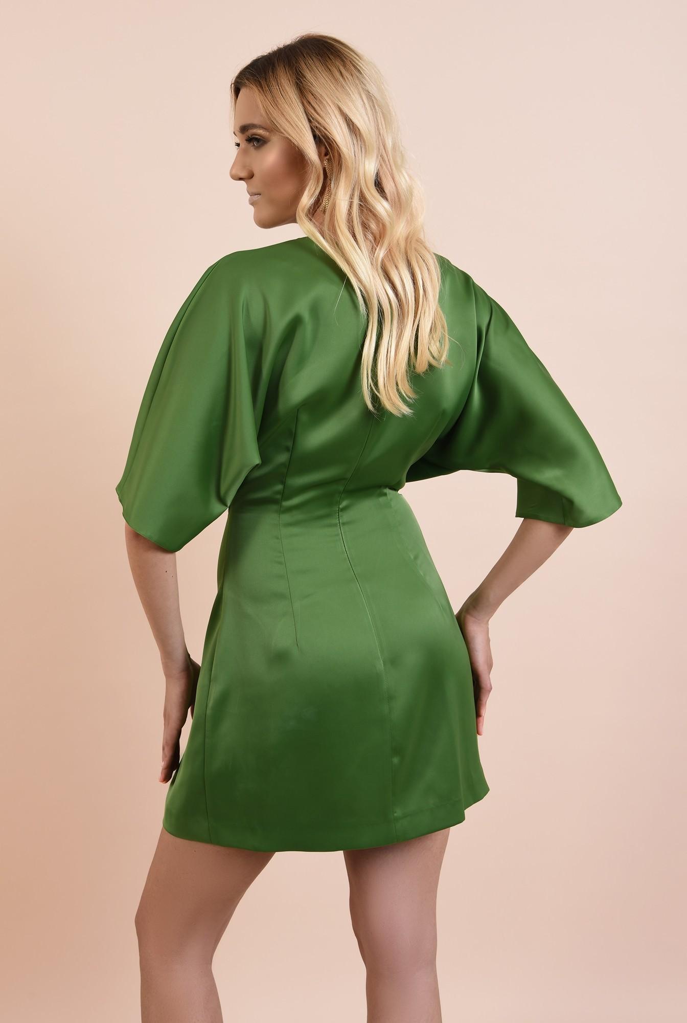 1 - rochie eleganta, verde, din satin, anchior petrecut, talie drapata